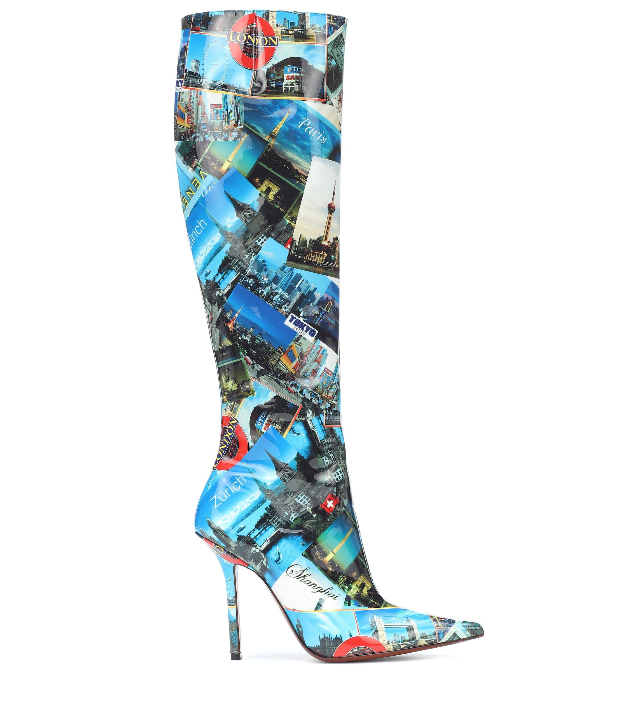 Botas altas de piel estampadas Vetements de color Azul