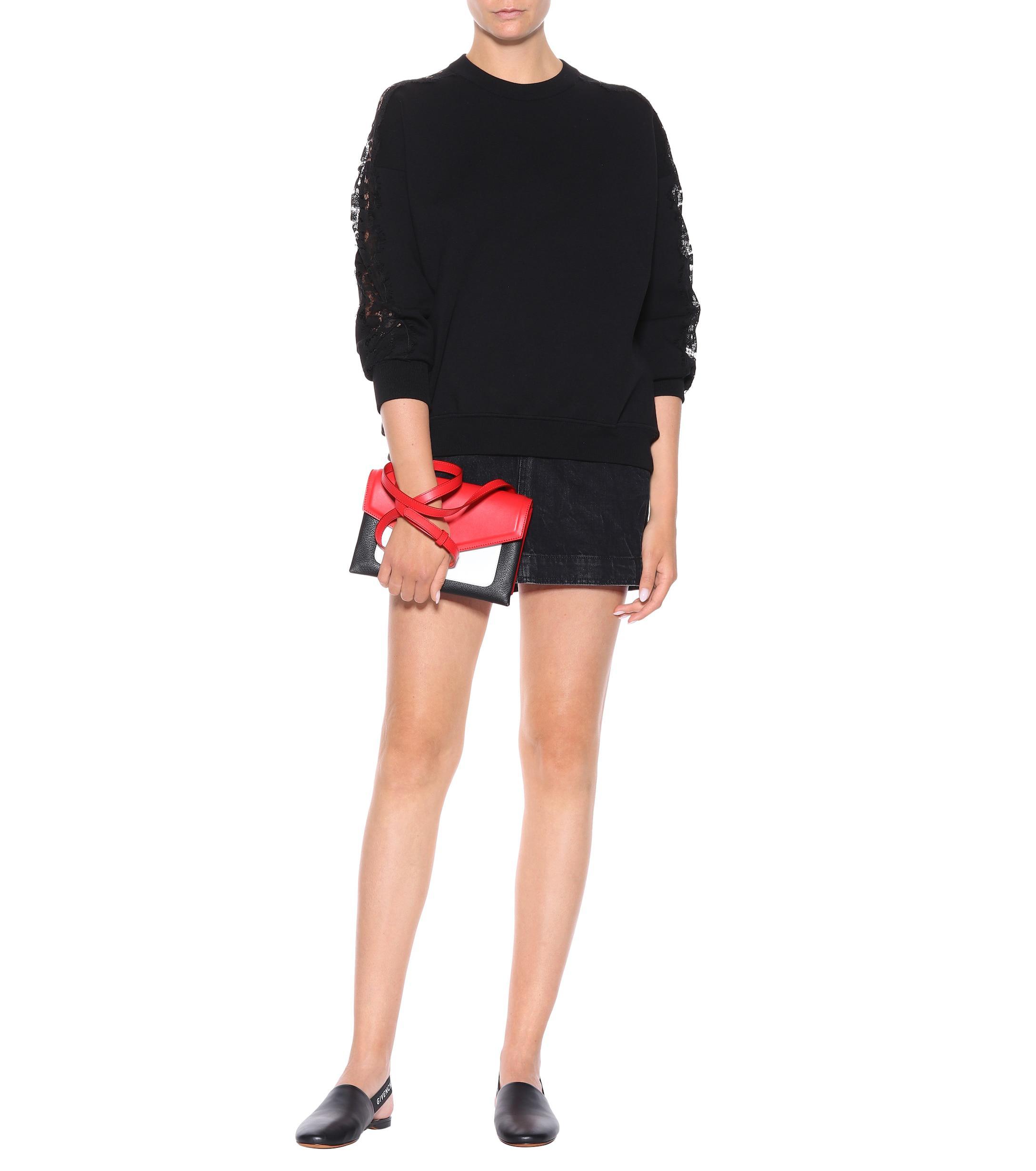 Slippers destalonados de piel Givenchy de Cuero de color Negro