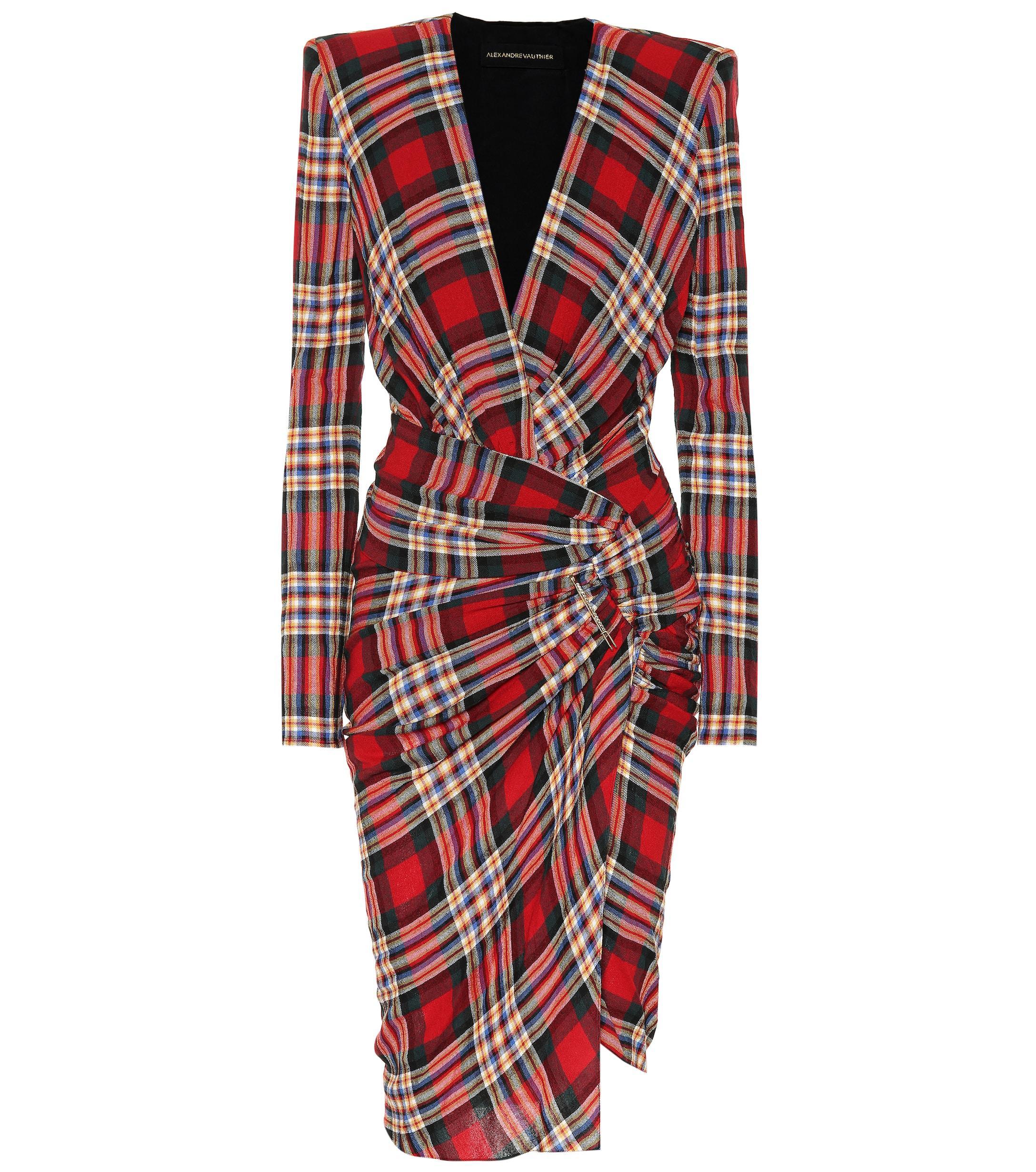 cb0f9e174c9 Robe en laine mélangée à carreaux Alexandre Vauthier en coloris ...