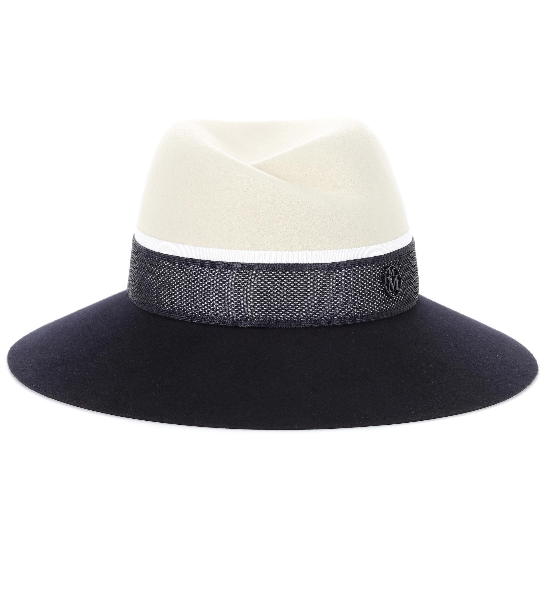 navy Virginie rabbit felt hat - Blue Maison Michel UekVYufxcl