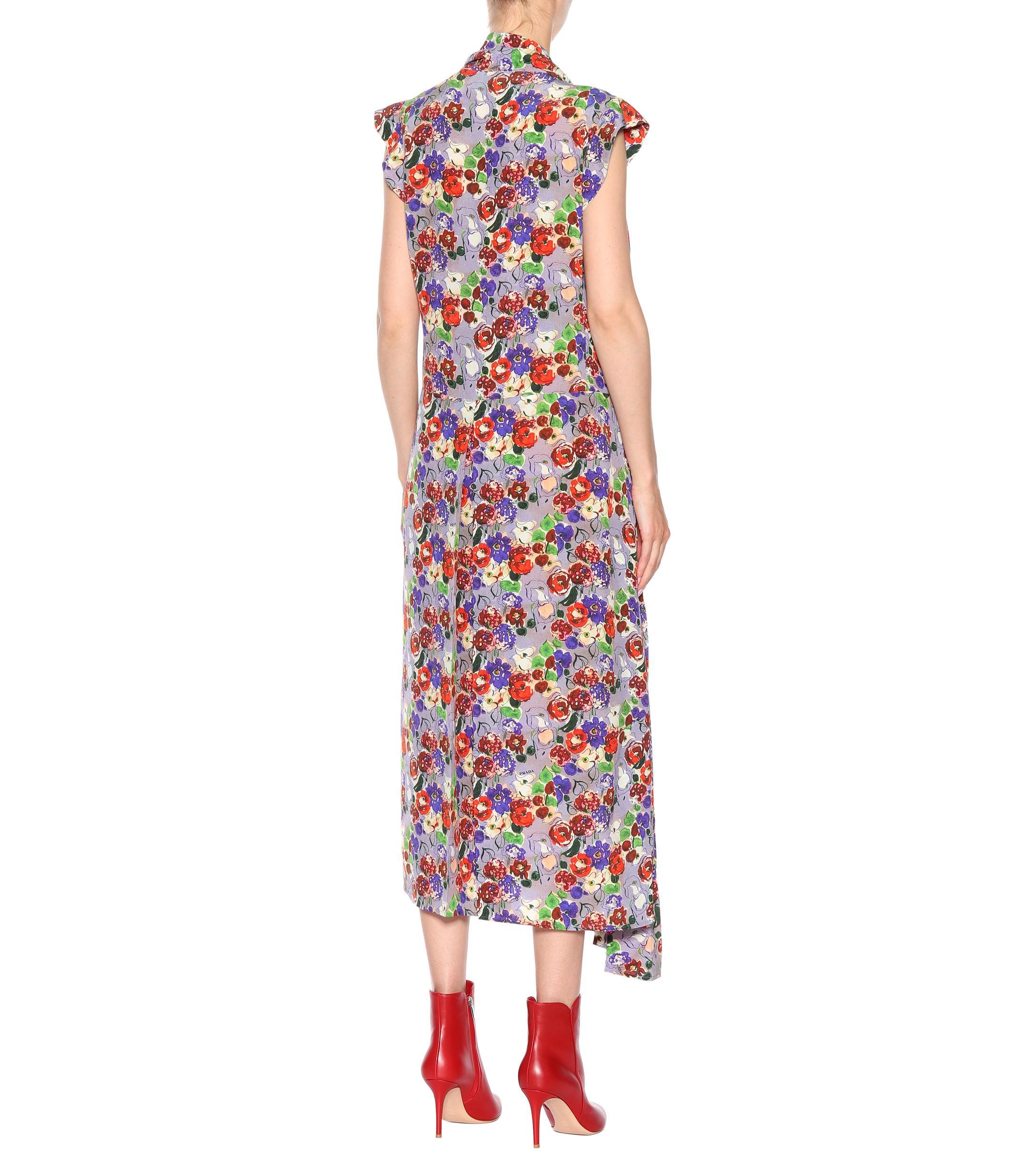 Prada Floral-printed Silk Dress