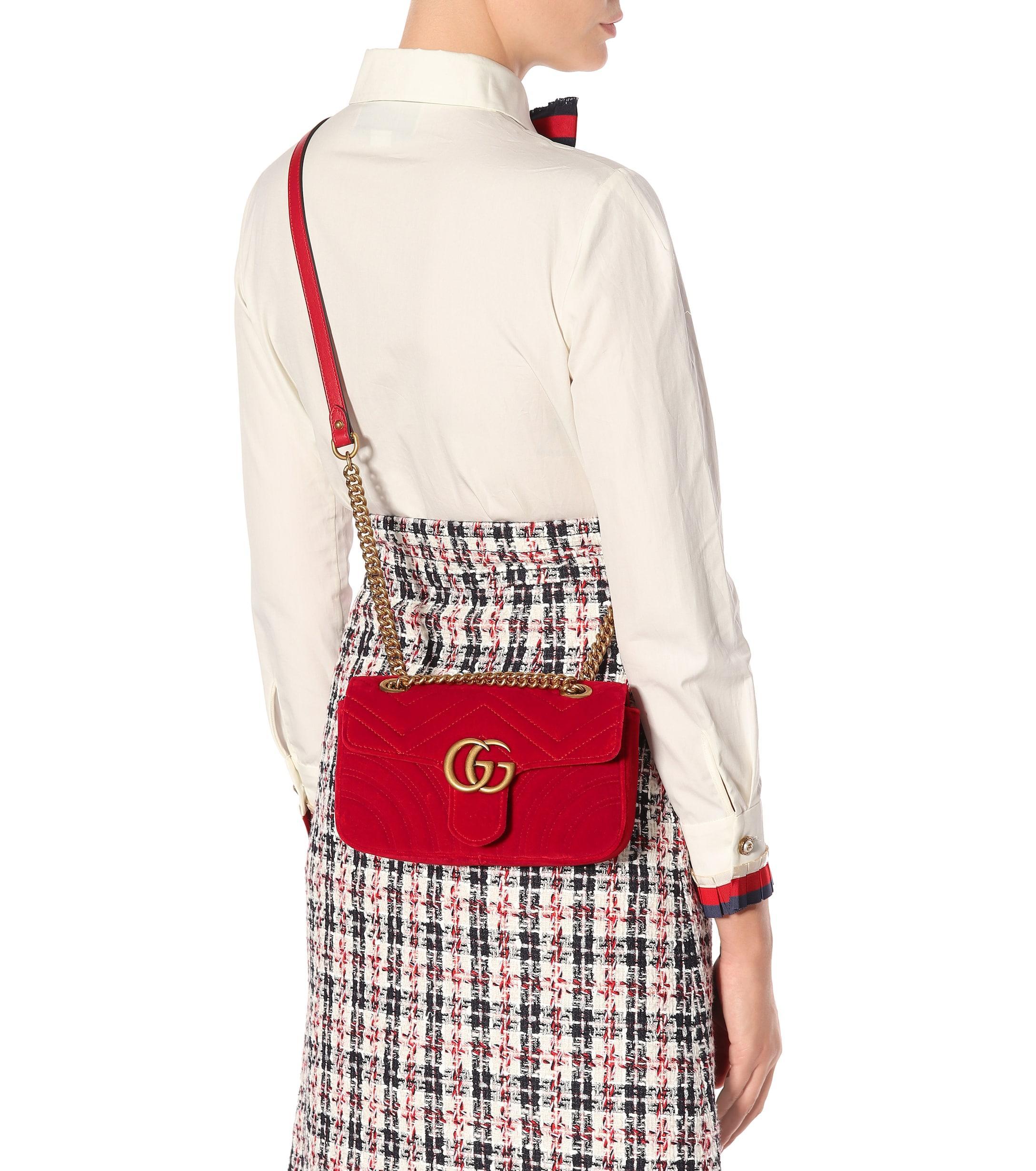 1759adbee97f32 Gucci - Red Mini Gg Marmont 2.0 Velvet Shoulder Bag - Lyst. View fullscreen