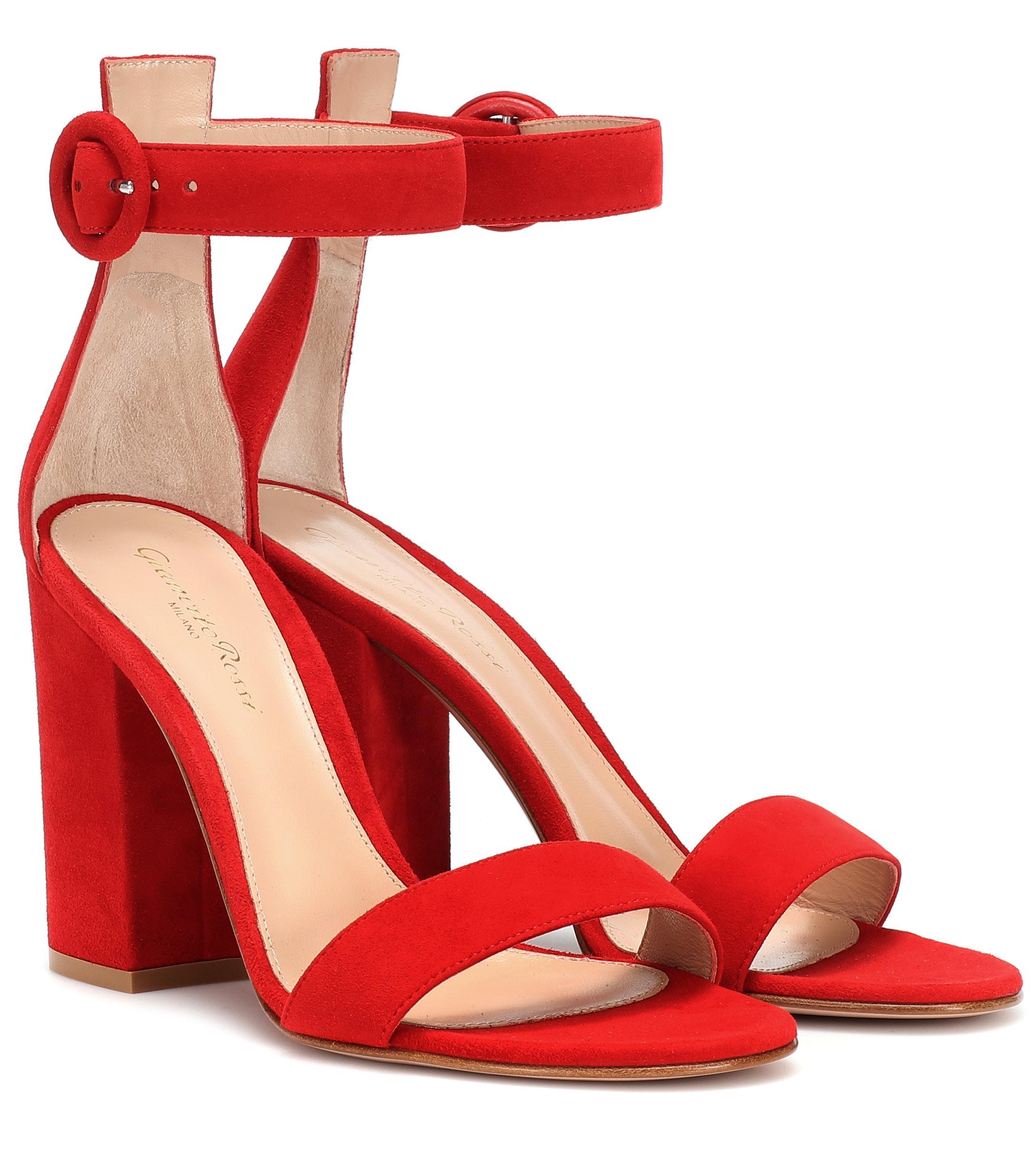 b9241dff33ce Lyst - Gianvito Rossi Versilia Suede Sandals in Red
