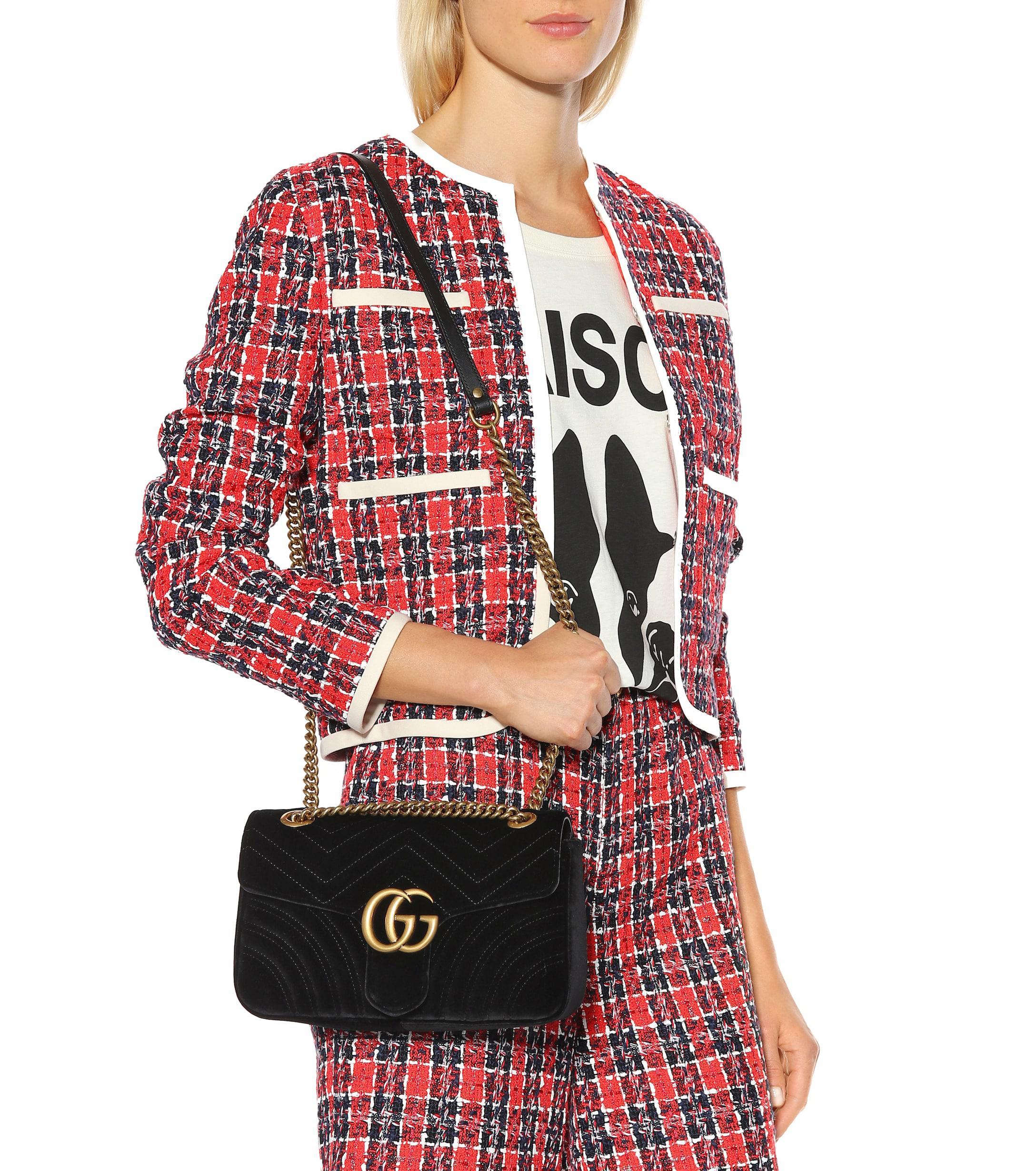 eea25f50a89edd ... GG Marmont Small Velvet Shoulder Bag - Lyst. View fullscreen