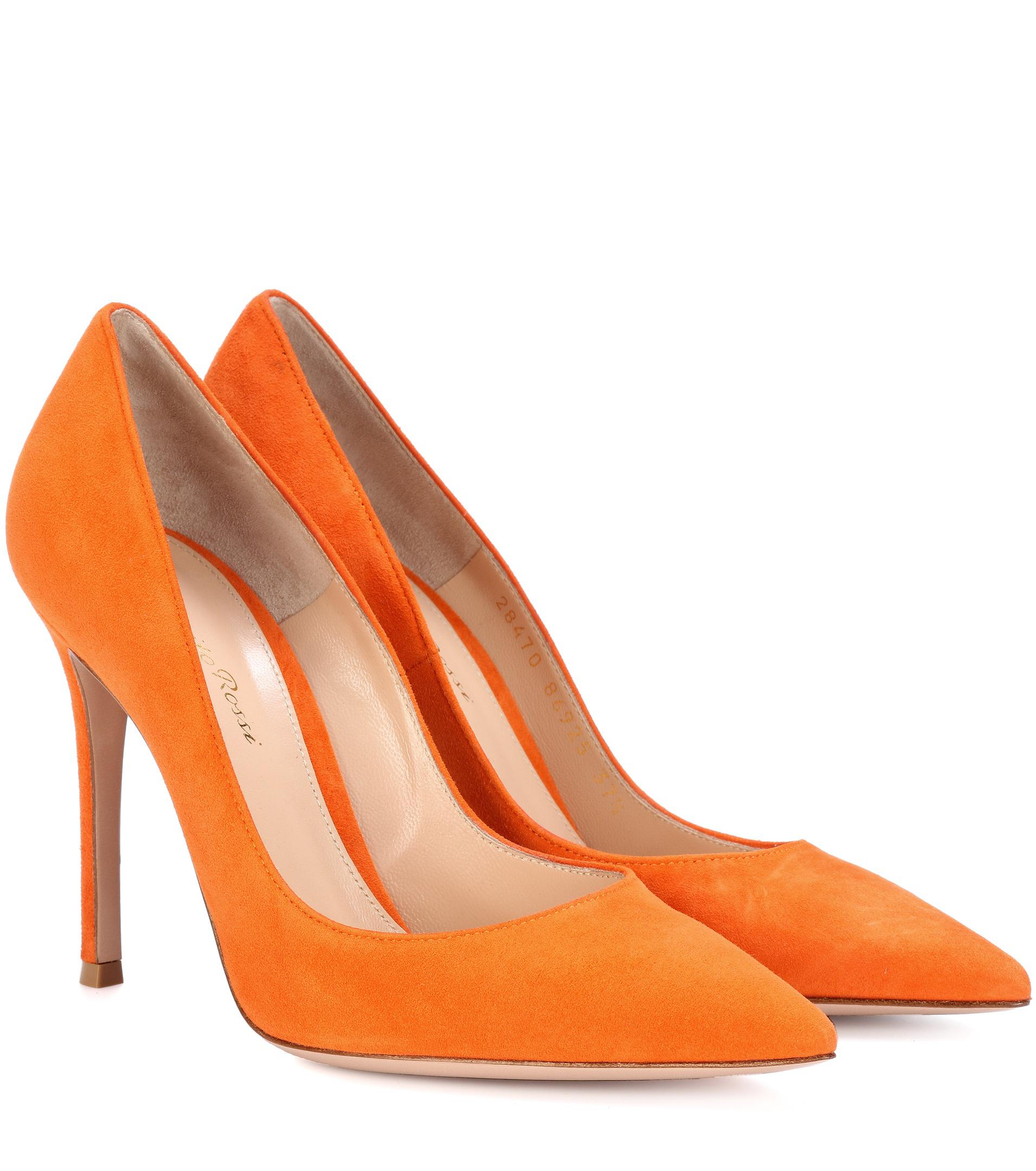 free shipping footaction outlet browse Gianvito Rossi Orange Suede Cut ... EMRRVl8f