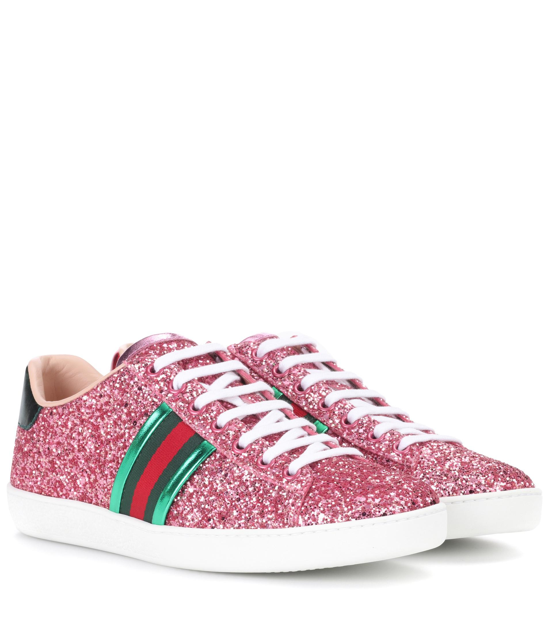 b4d27bd55 Gucci Ace Glitter Sneakers in Pink - Lyst
