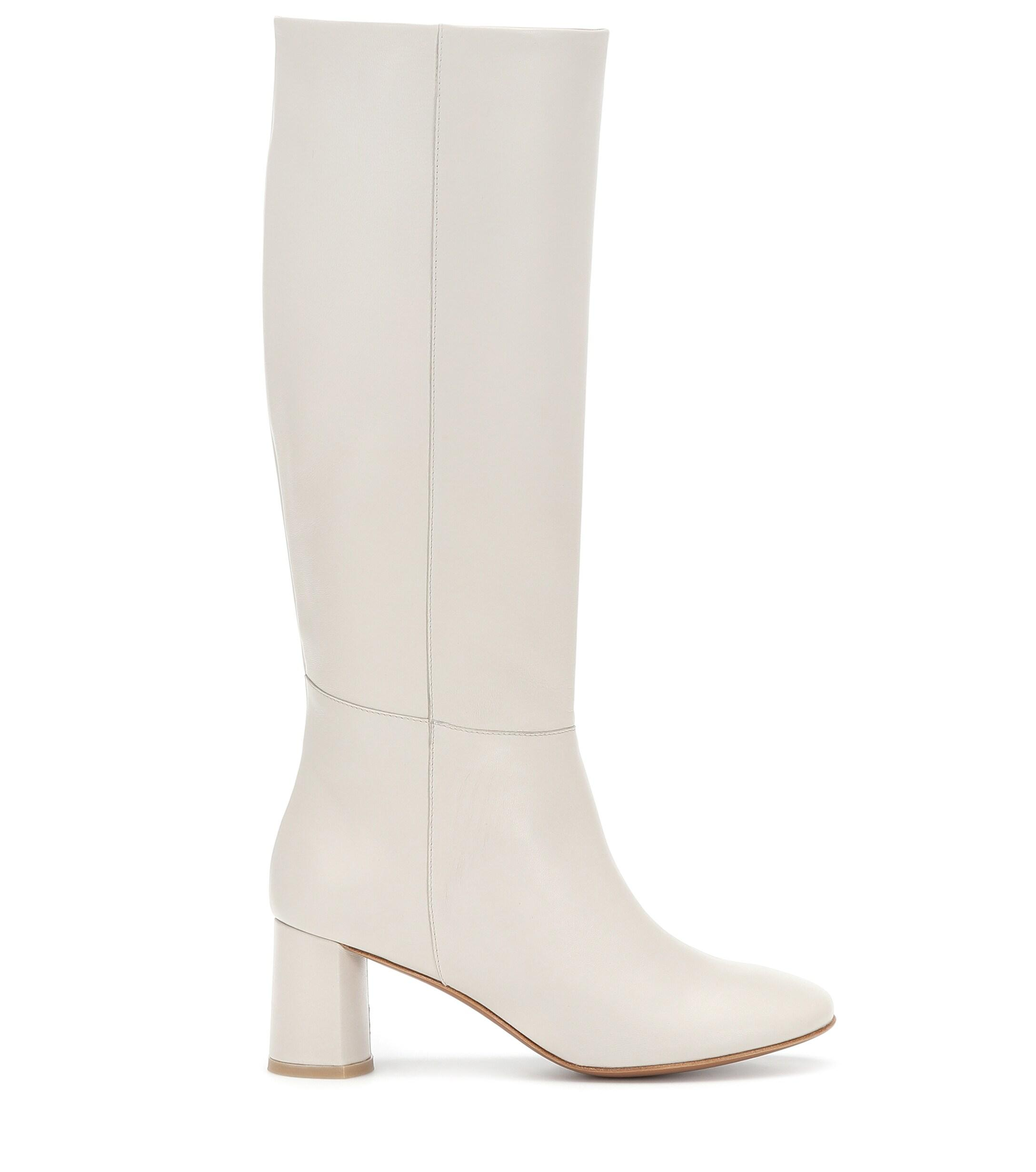 Loq Donna Knee High Leather Boots In White Lyst