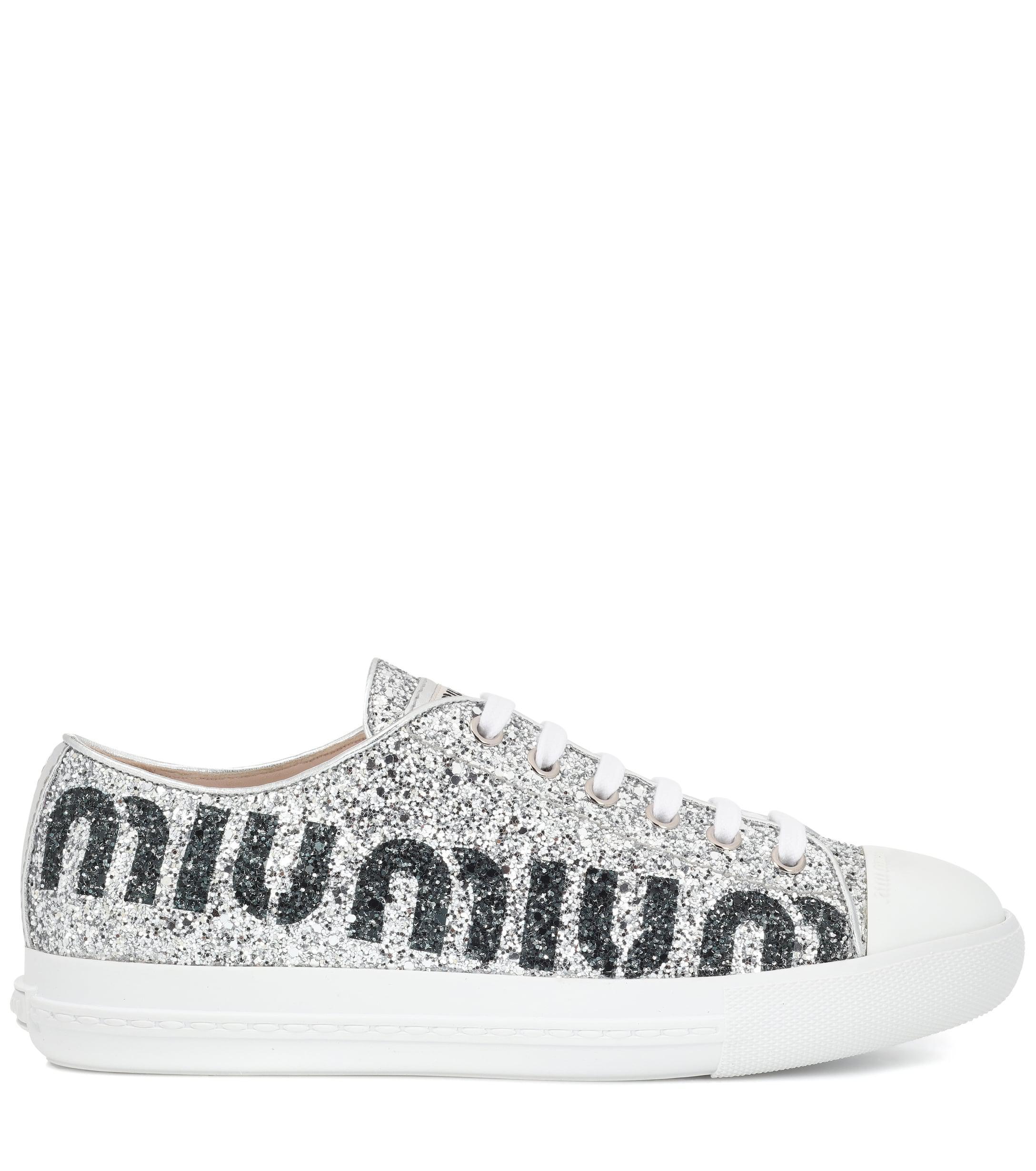 Miu Miu Leather Logo Glitter Sneakers in Silver (Metallic)