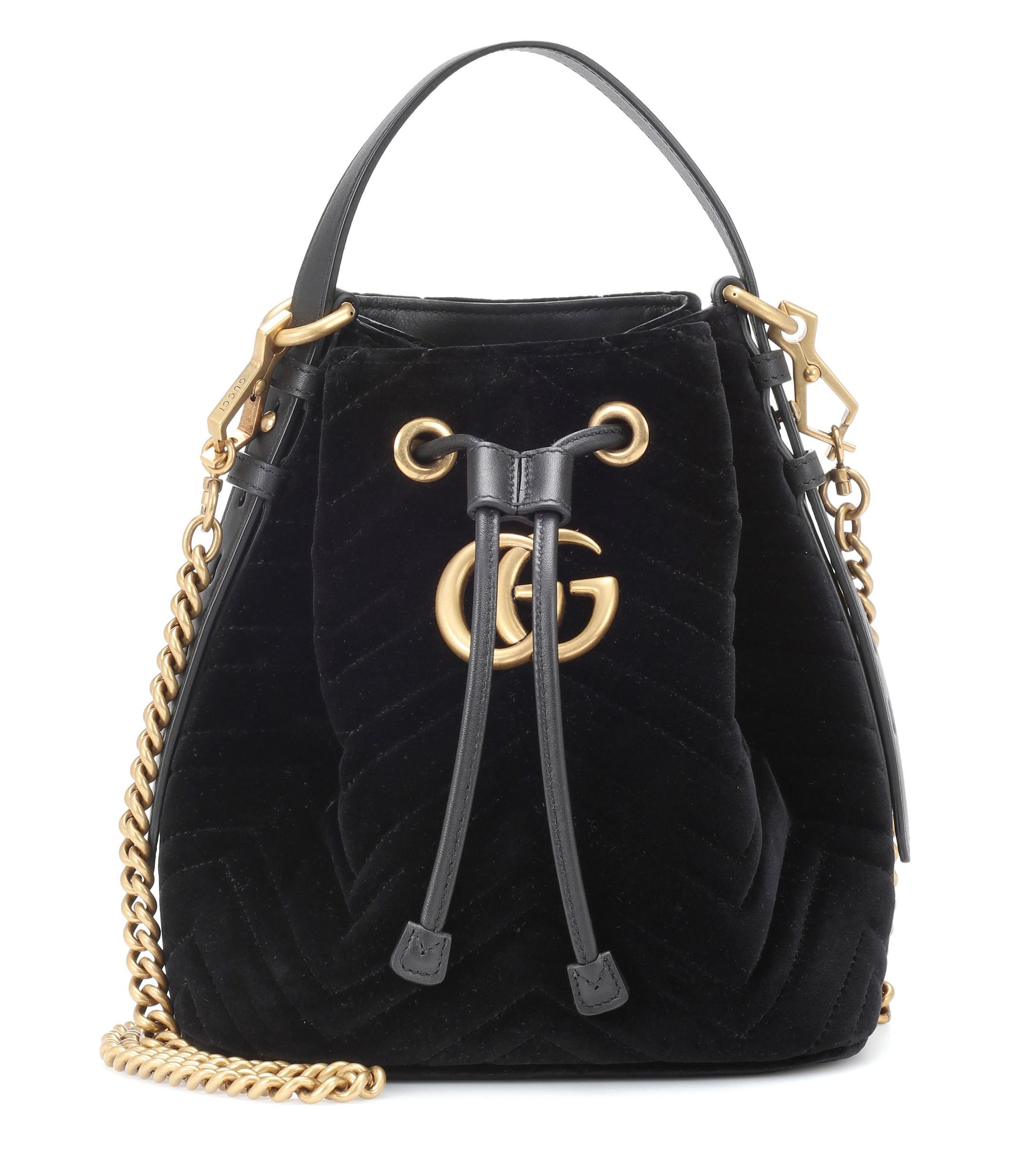 b67013ff9 ... Gucci - Black GG Marmont Velvet Bucket Bag - Lyst. Visit Mytheresa. Tap  to visit site