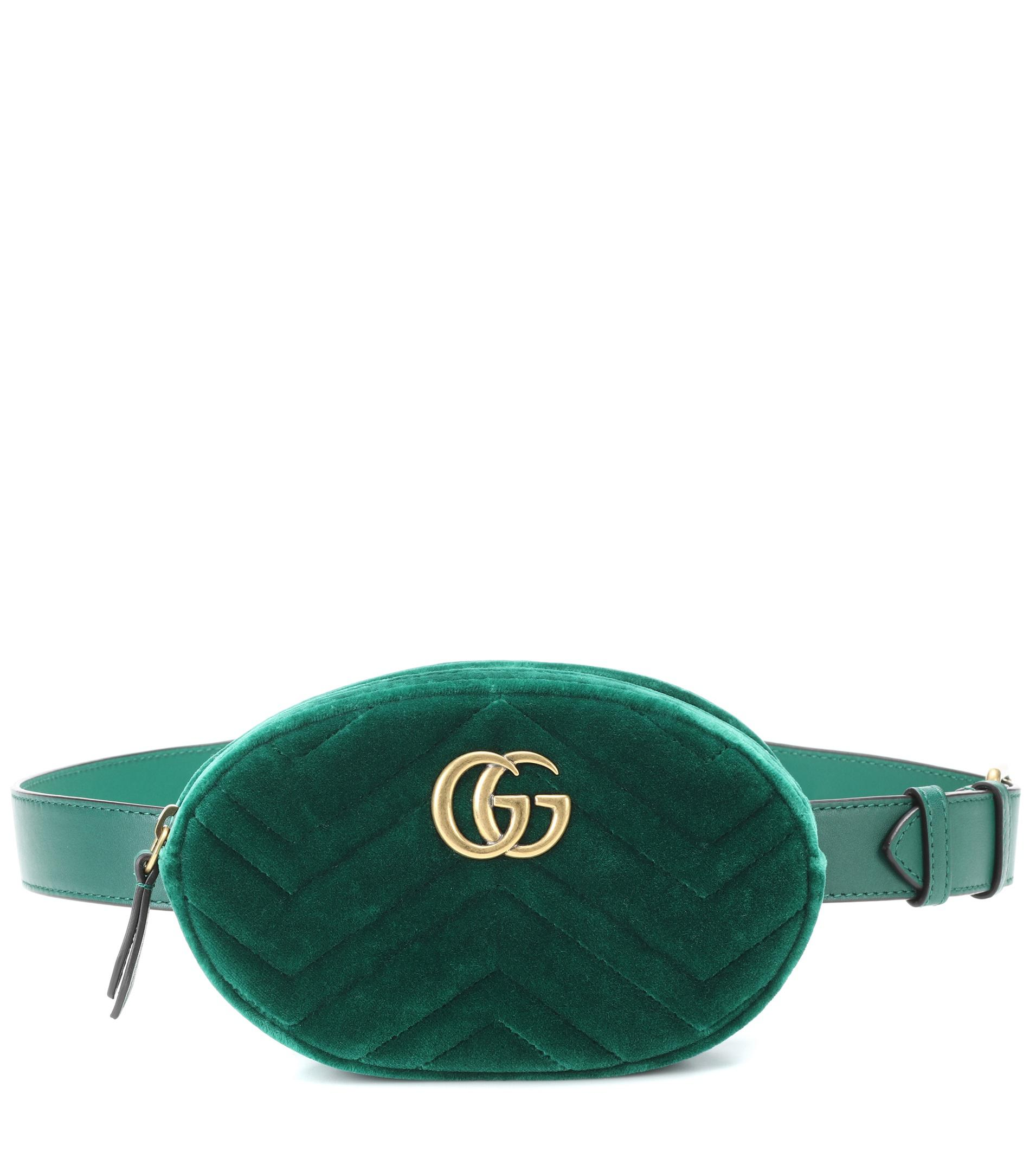 19351265494f Lyst - Gucci Gg Marmont Velvet And Leather Belt Bag in Green