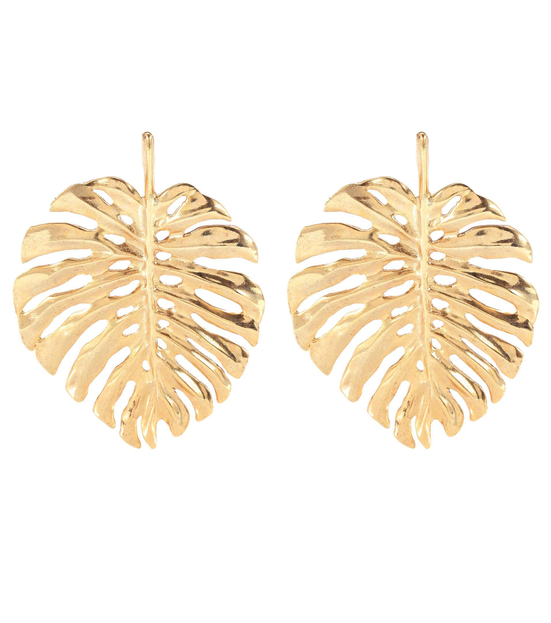 7132c85d7 Oscar de la Renta Palm Leaf Earrings in Metallic - Lyst