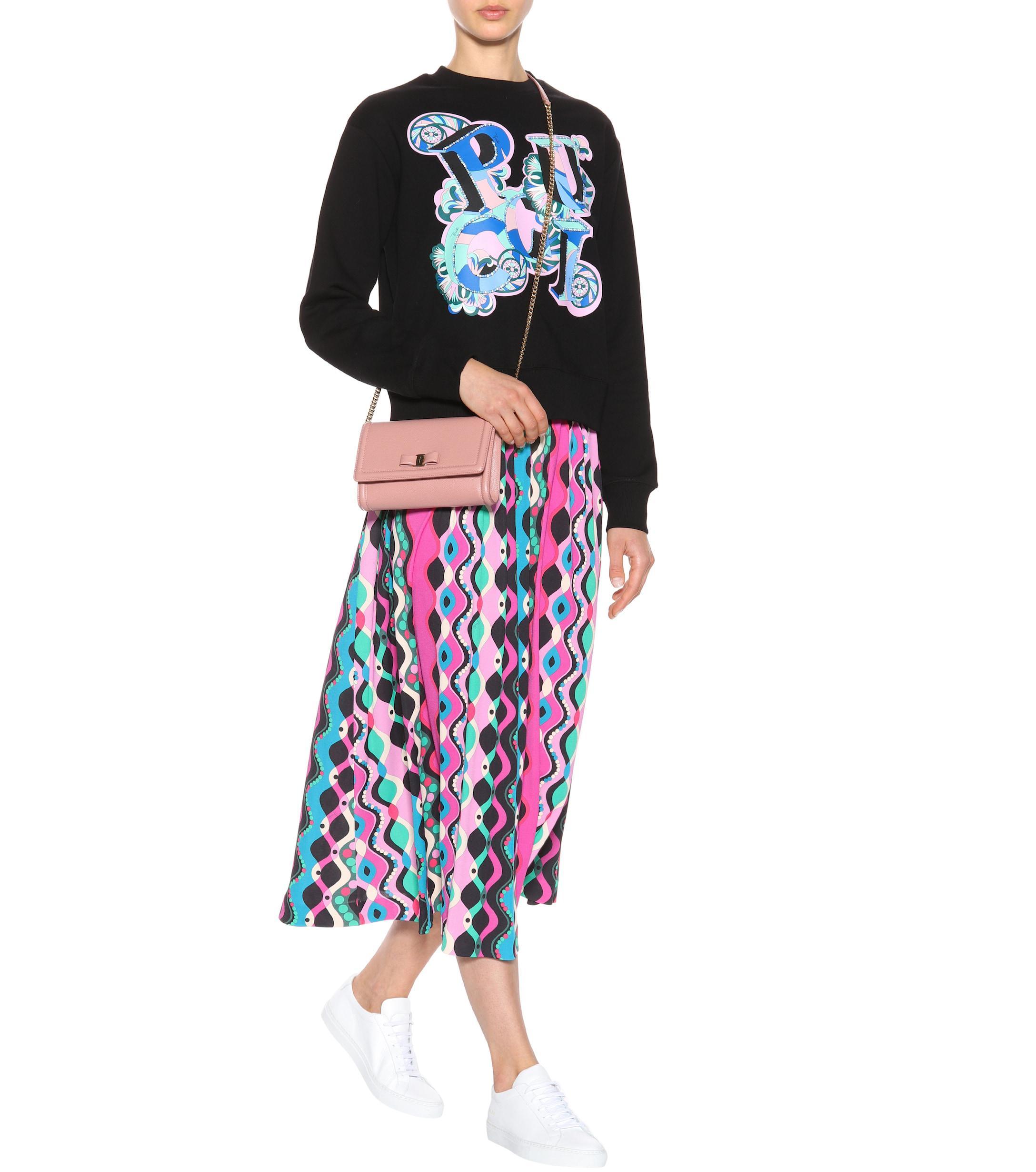 Falda midi estampada Emilio Pucci de Tejido sintético de color Rosa