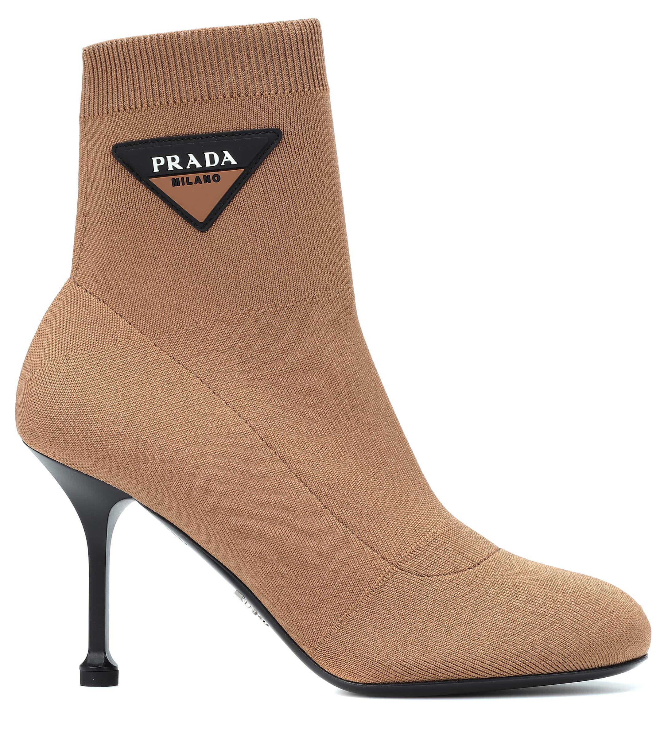 Prada Logo Sock Boots in Brown - Lyst
