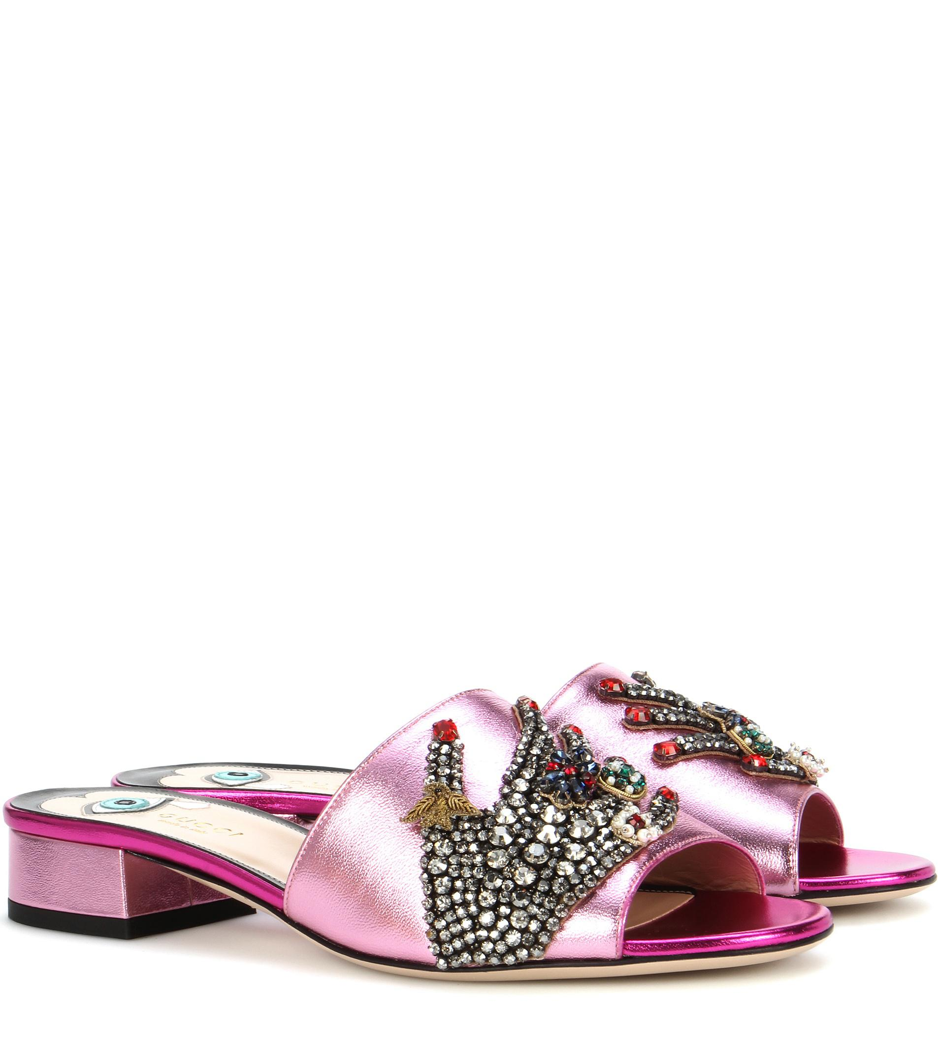 763e71bc89ae Gucci Crystal-embellished Metallic Leather Sandals in Pink - Lyst