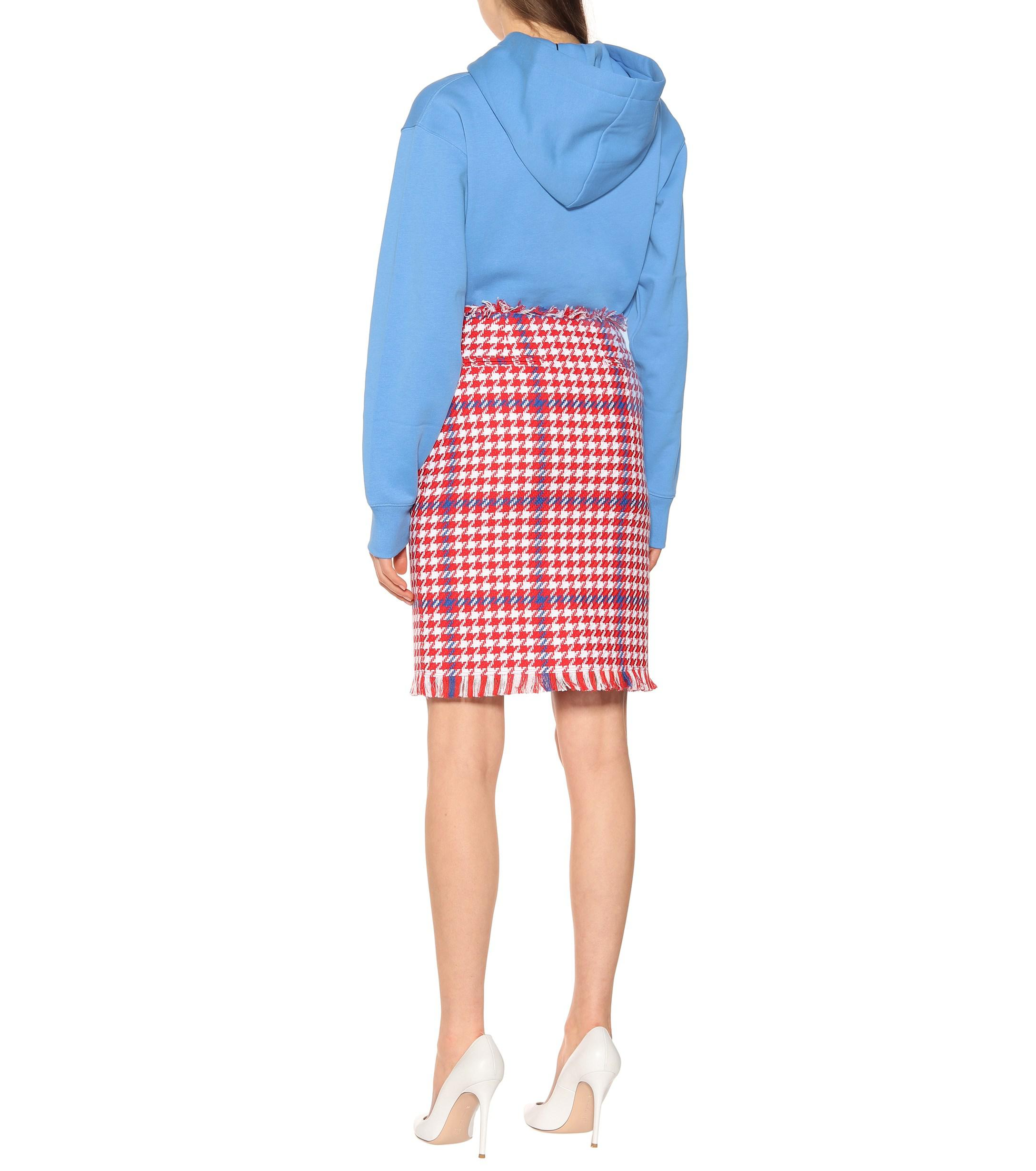 Falda de tweed pata de gallo MSGM de color Rojo