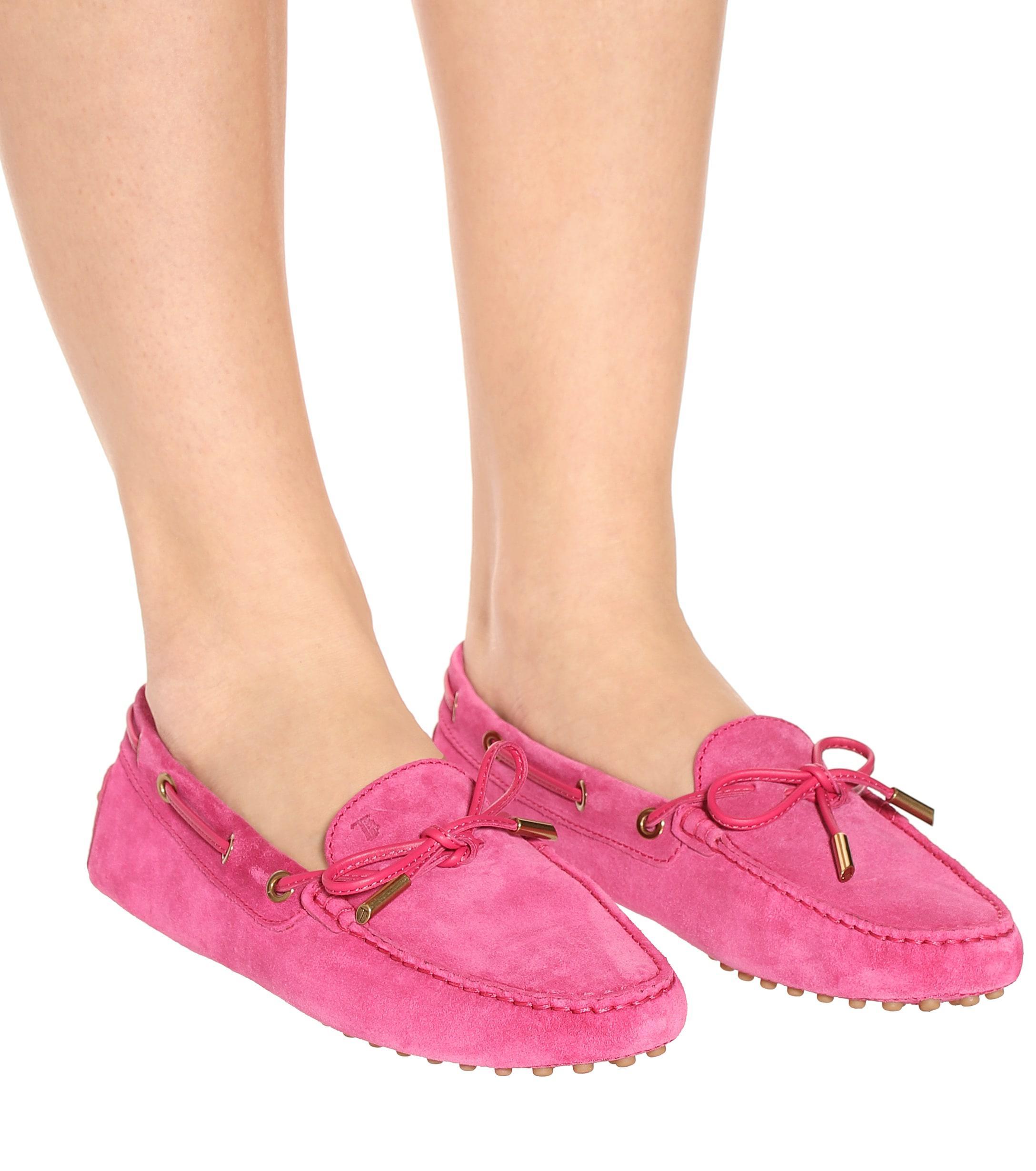 Mocasines Gommino de gamuza Tod's de Ante de color Rosa