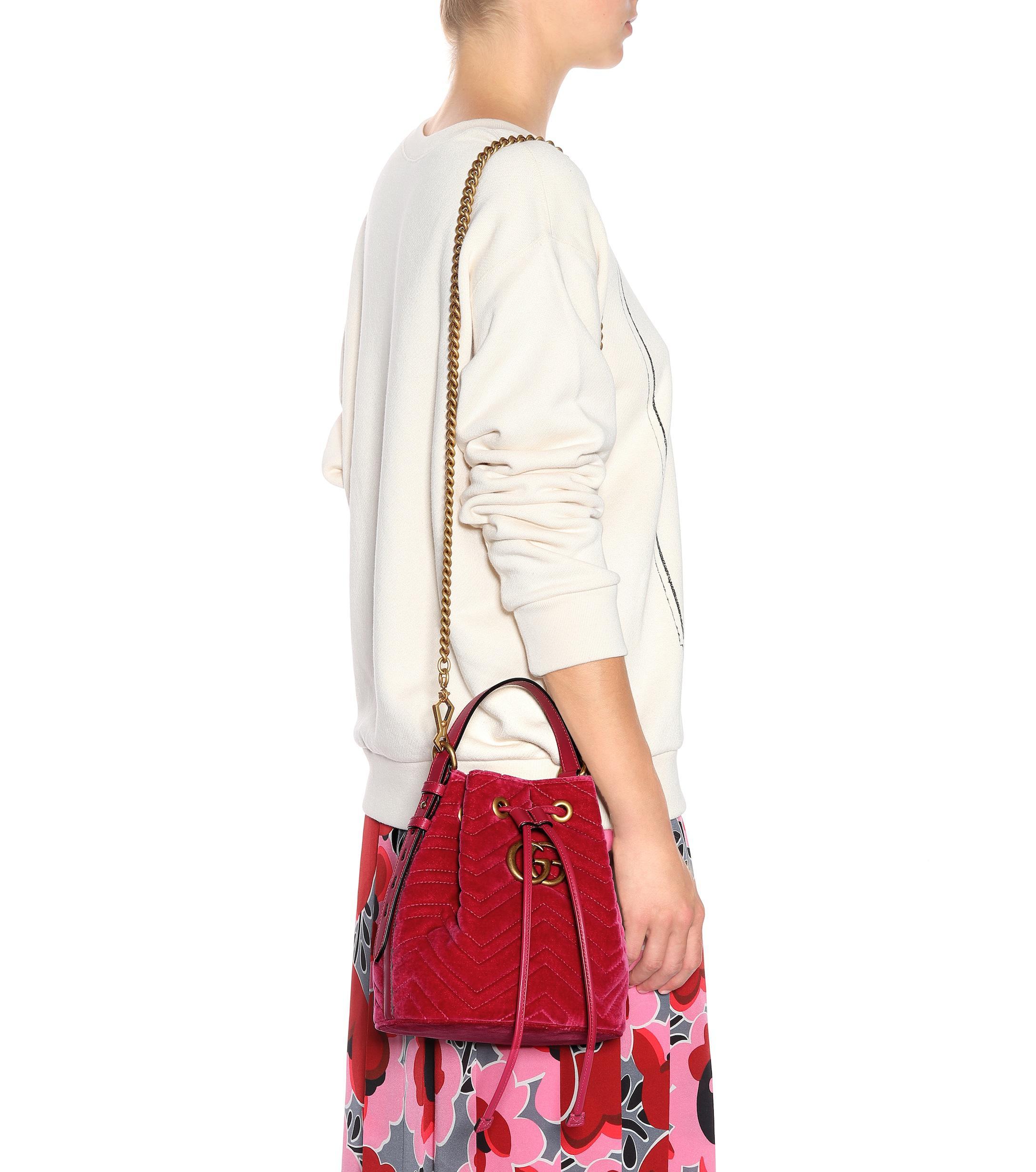 161bf7fc181 Gucci - Red GG Marmont Velvet Bucket Bag - Lyst. View fullscreen