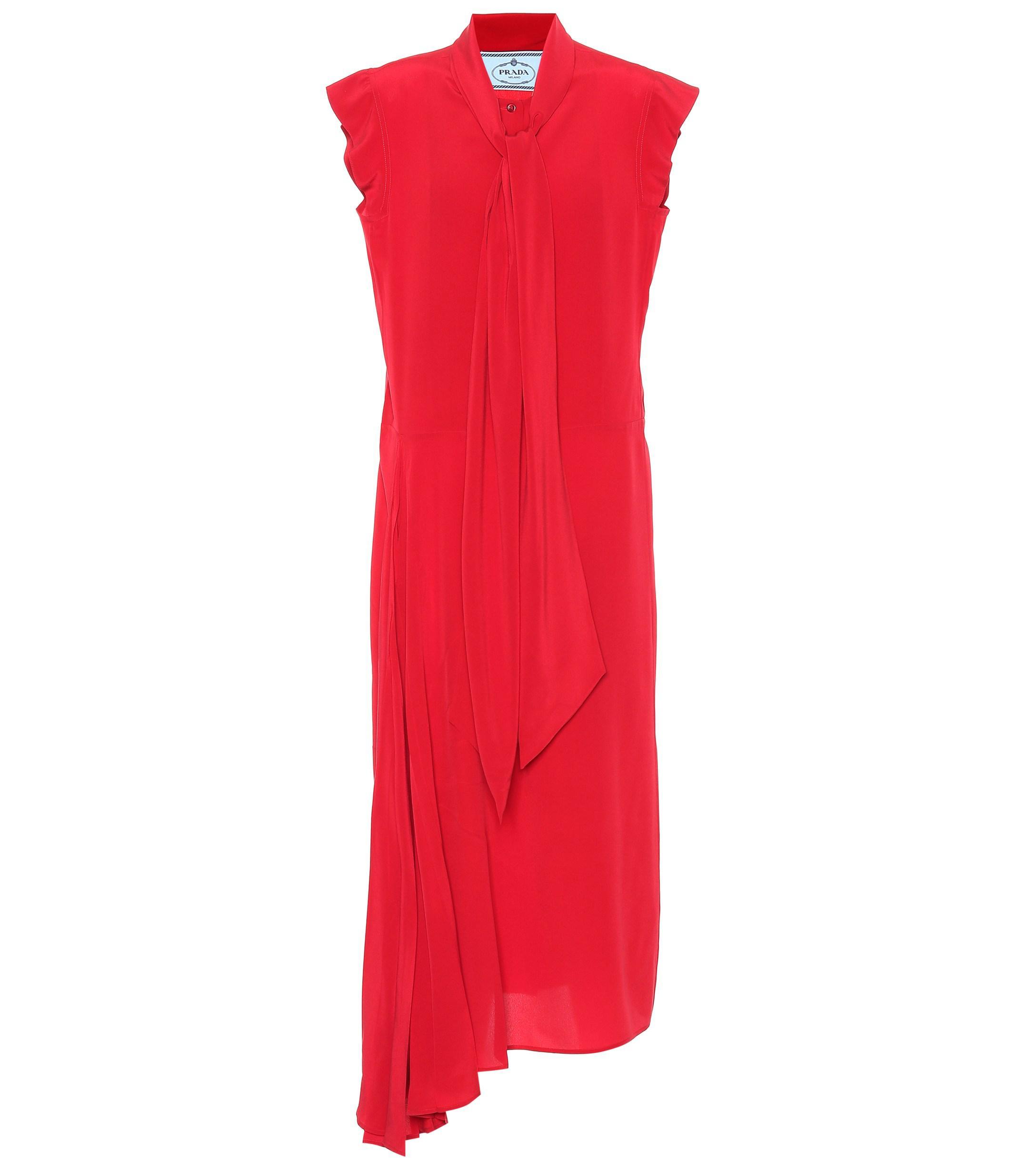 Lyst - Prada Sleeveless Silk Dress in Red d59091bde0