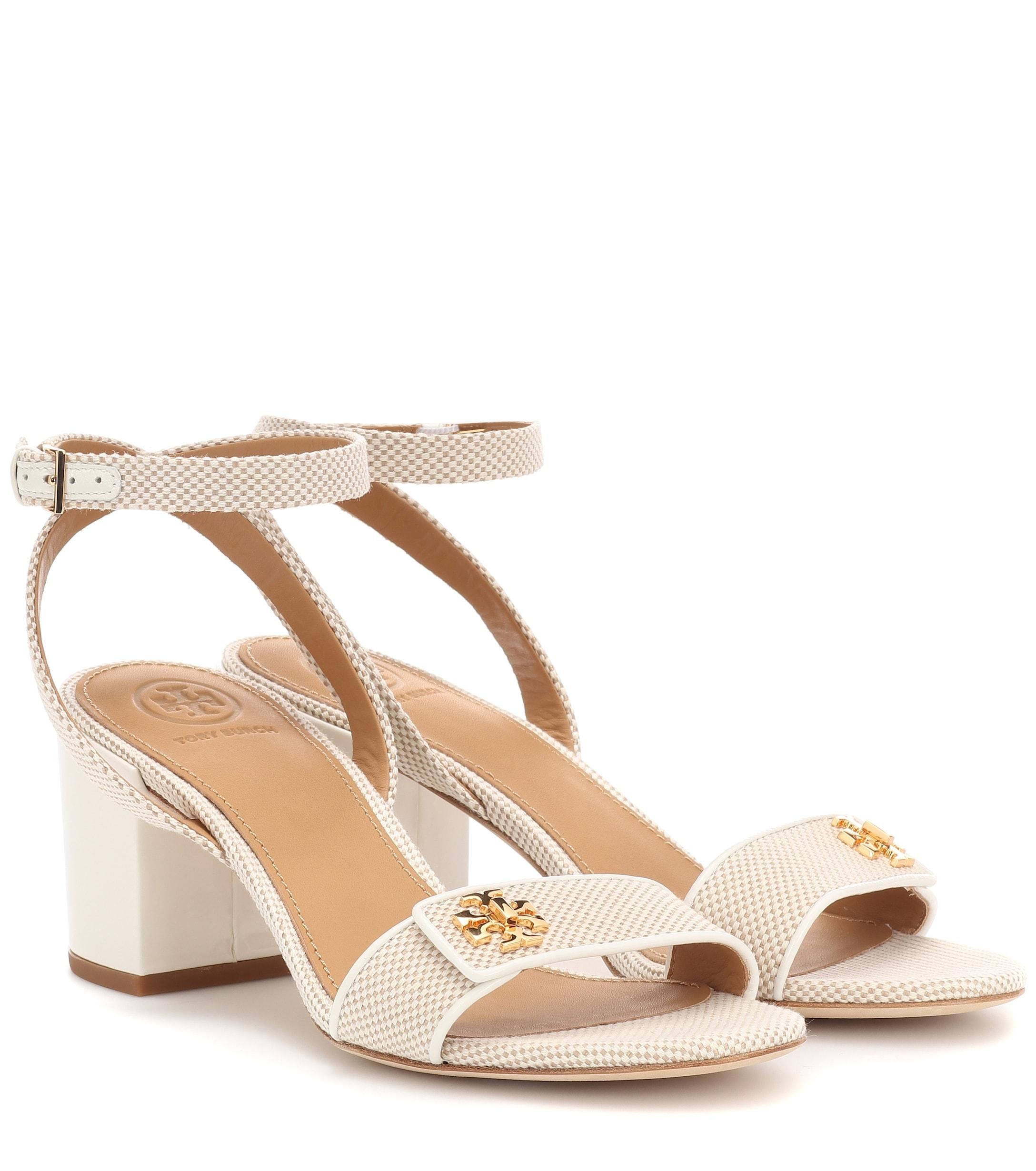989a77997 Lyst - Tory Burch Kira Leather-trimmed Canvas Sandals in Natural