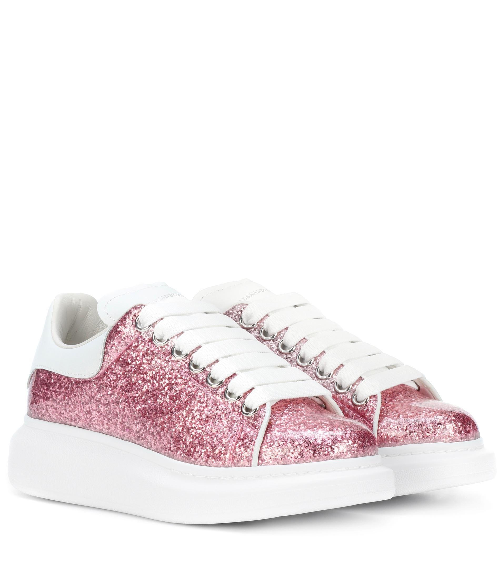 Alexander McQueen Pink Glitter Platform Leather Sneakers