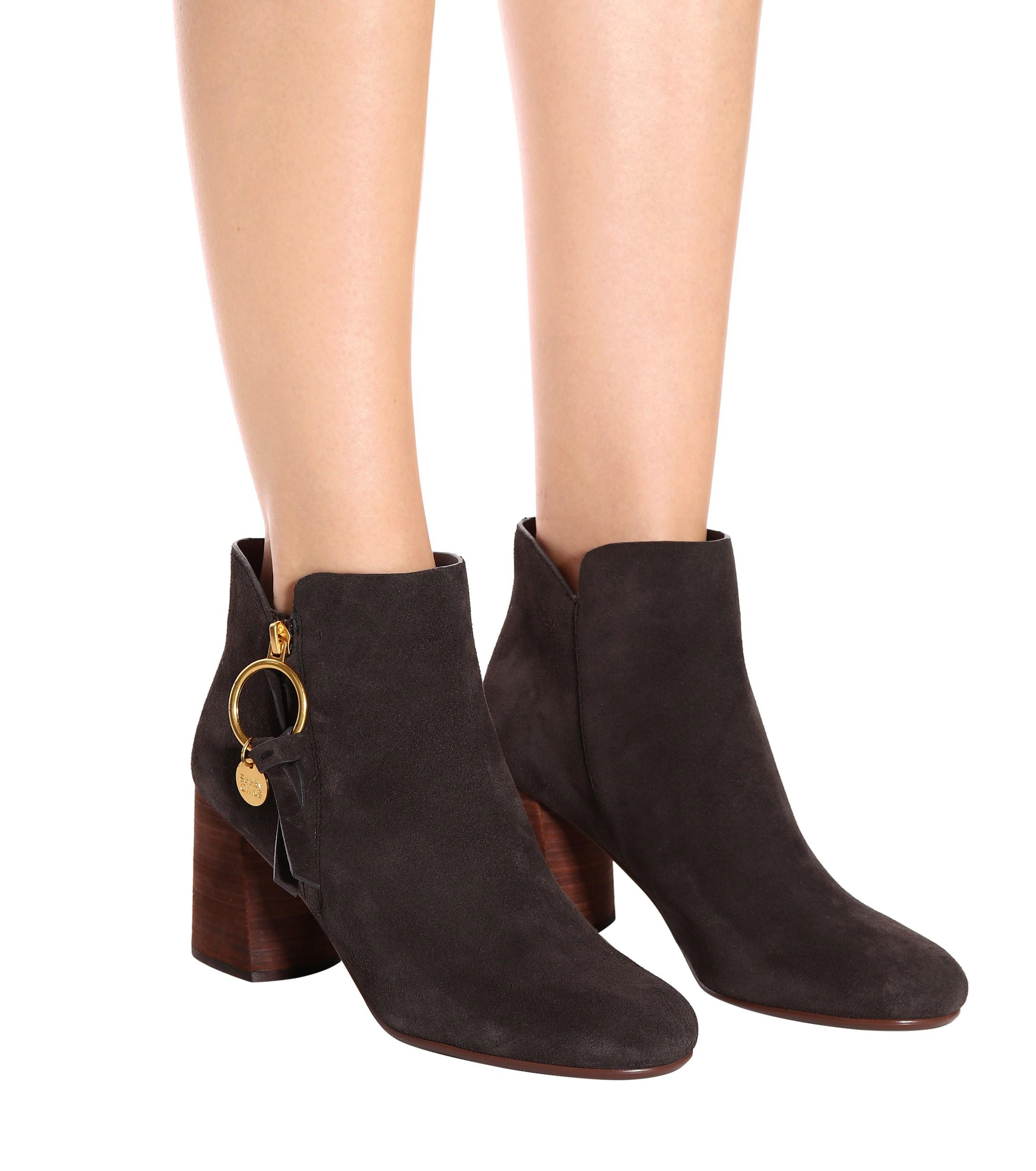b01c84f254bc4 Lyst - See By Chloé Louise Medium Suede Ankle Boots in Brown