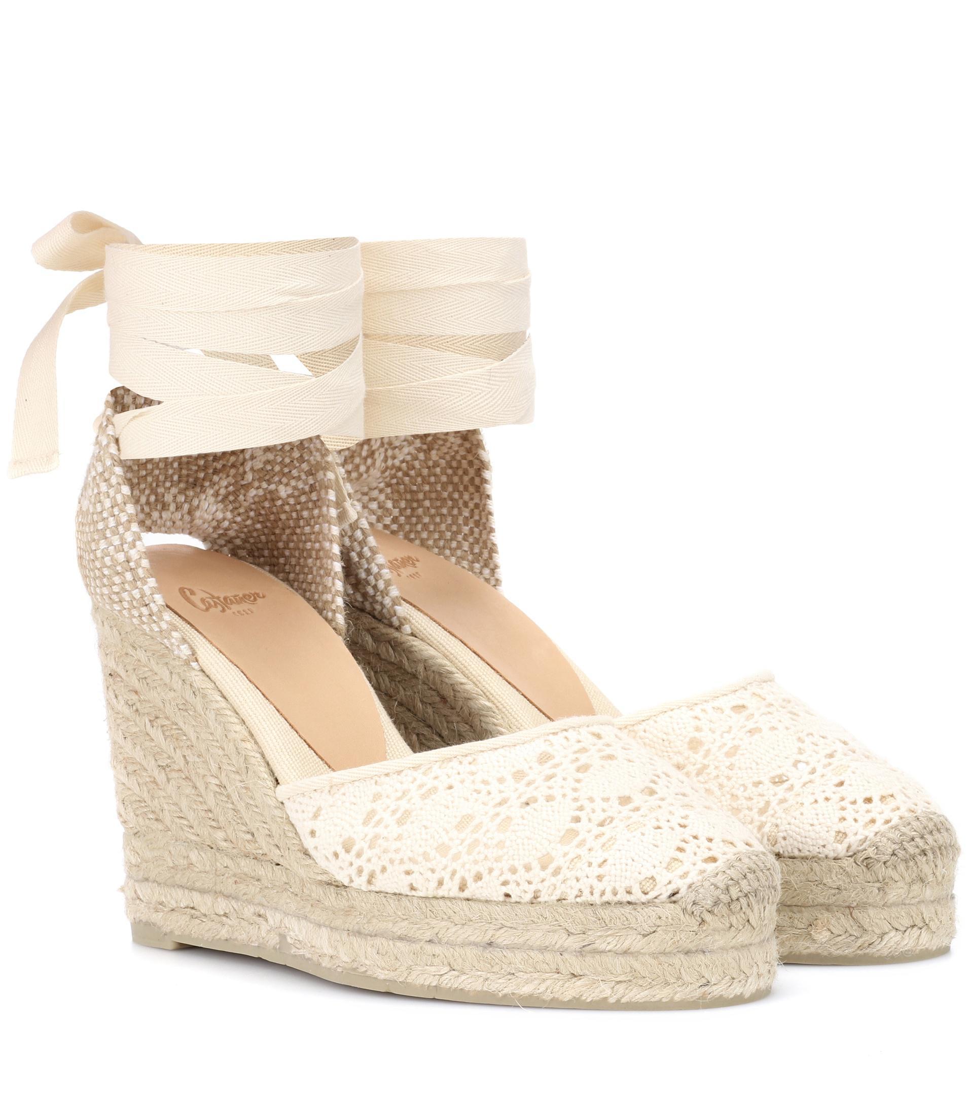 04f5bb46e3f Castaner White Carina Crochet Wedge Espadrilles