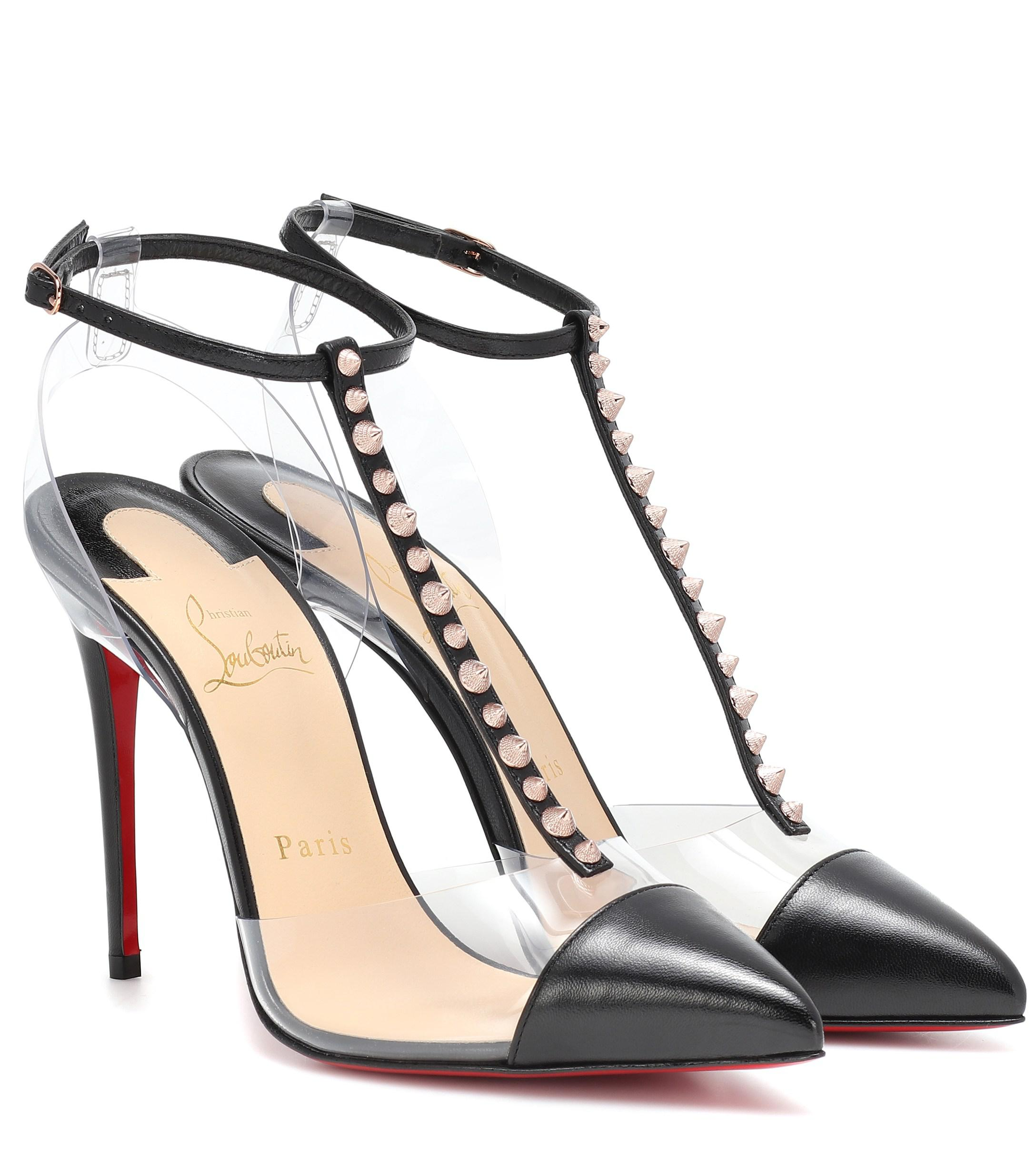 69dfb442375b Lyst - Christian Louboutin Nosy Spikes Pvc And Leather Pumps in Black