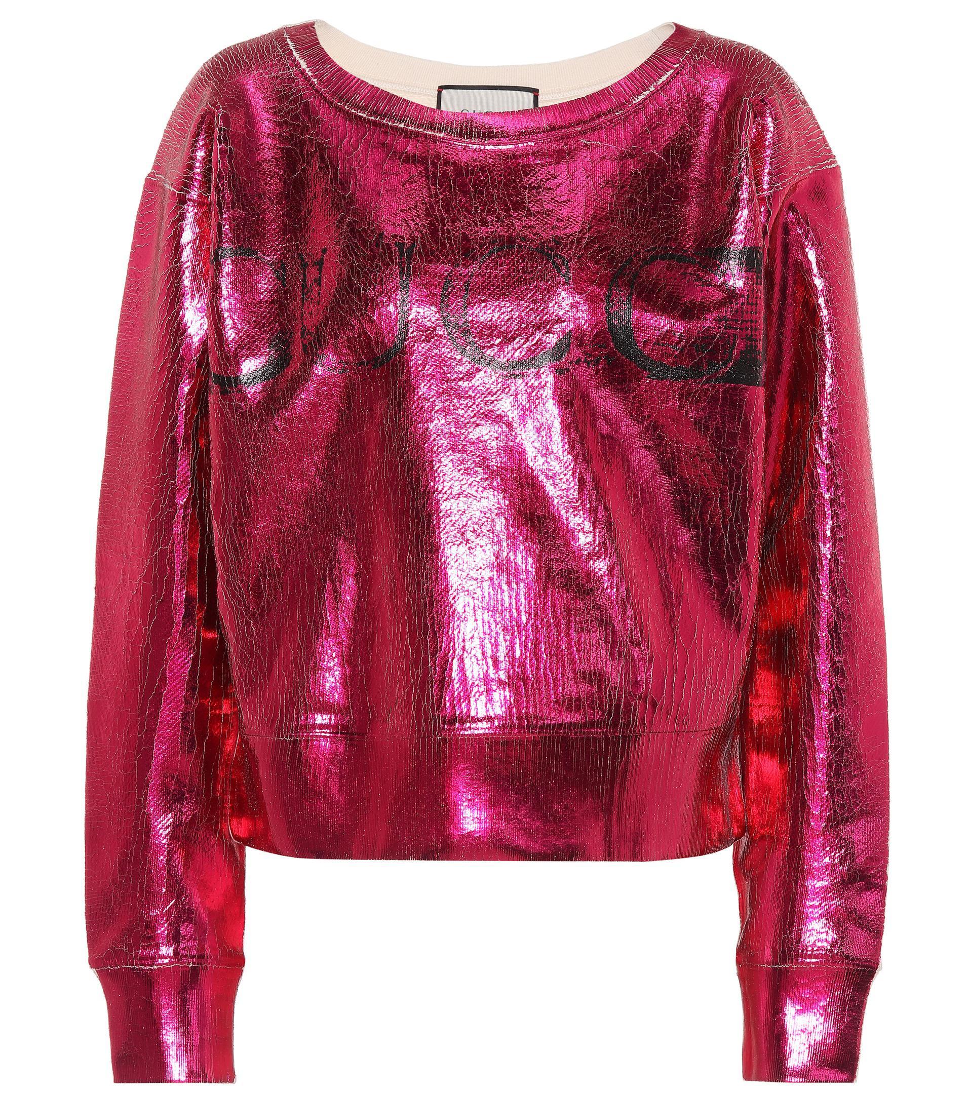 Gucci Metallic Cotton Sweatshirt in Pink - Lyst
