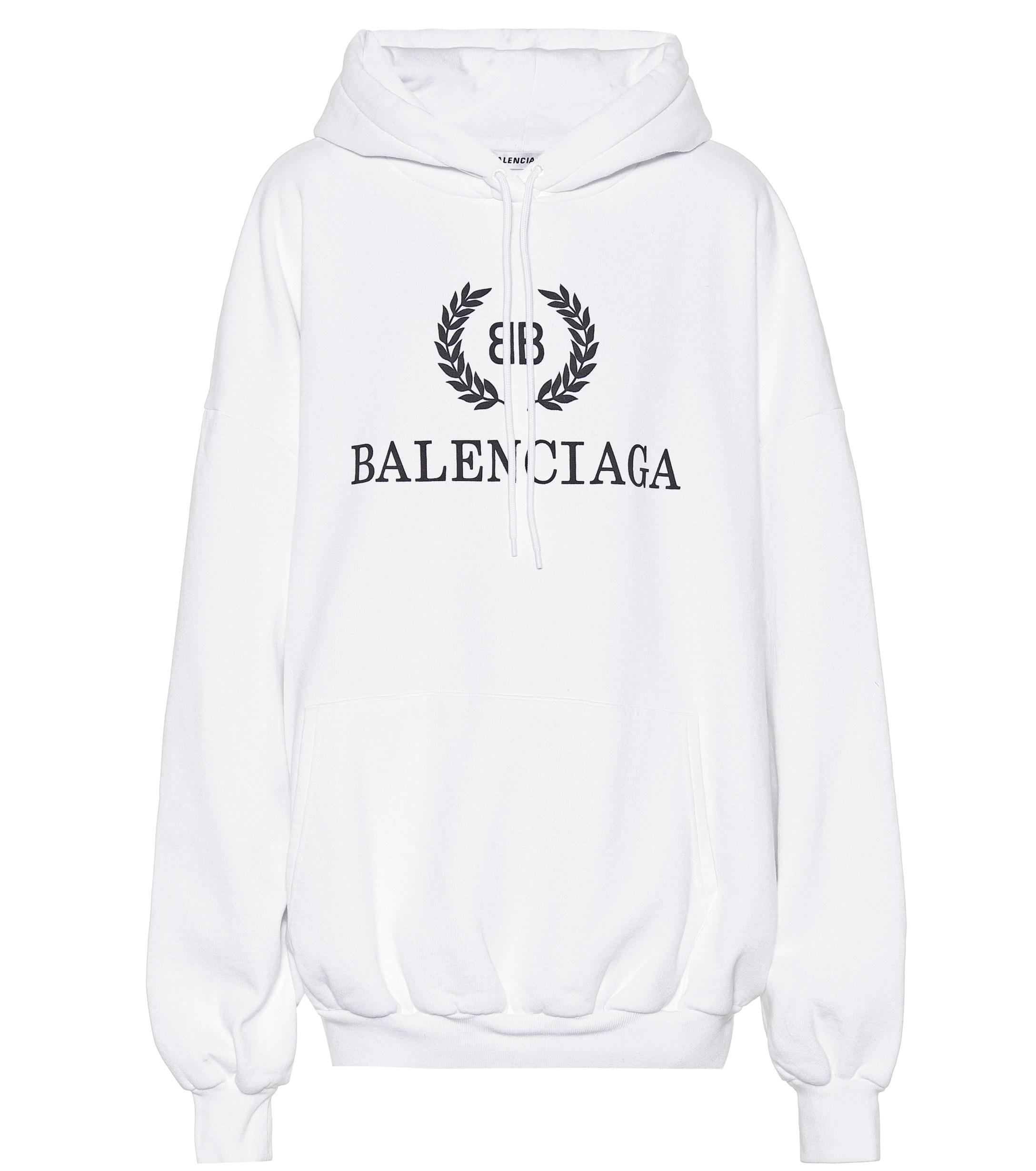 letzte auswahl von 2019 weich und leicht doppelter gutschein Balenciaga Baumwolle Bedruckter Hoodie aus Jersey in Weiß - Lyst