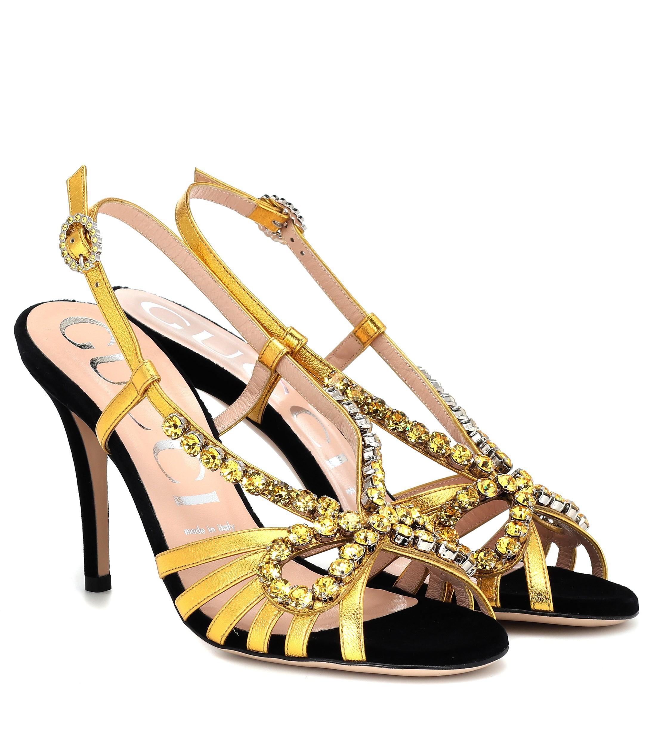 7b0d288b7152 Lyst - Gucci Embellished Metallic Leather Sandals in Metallic