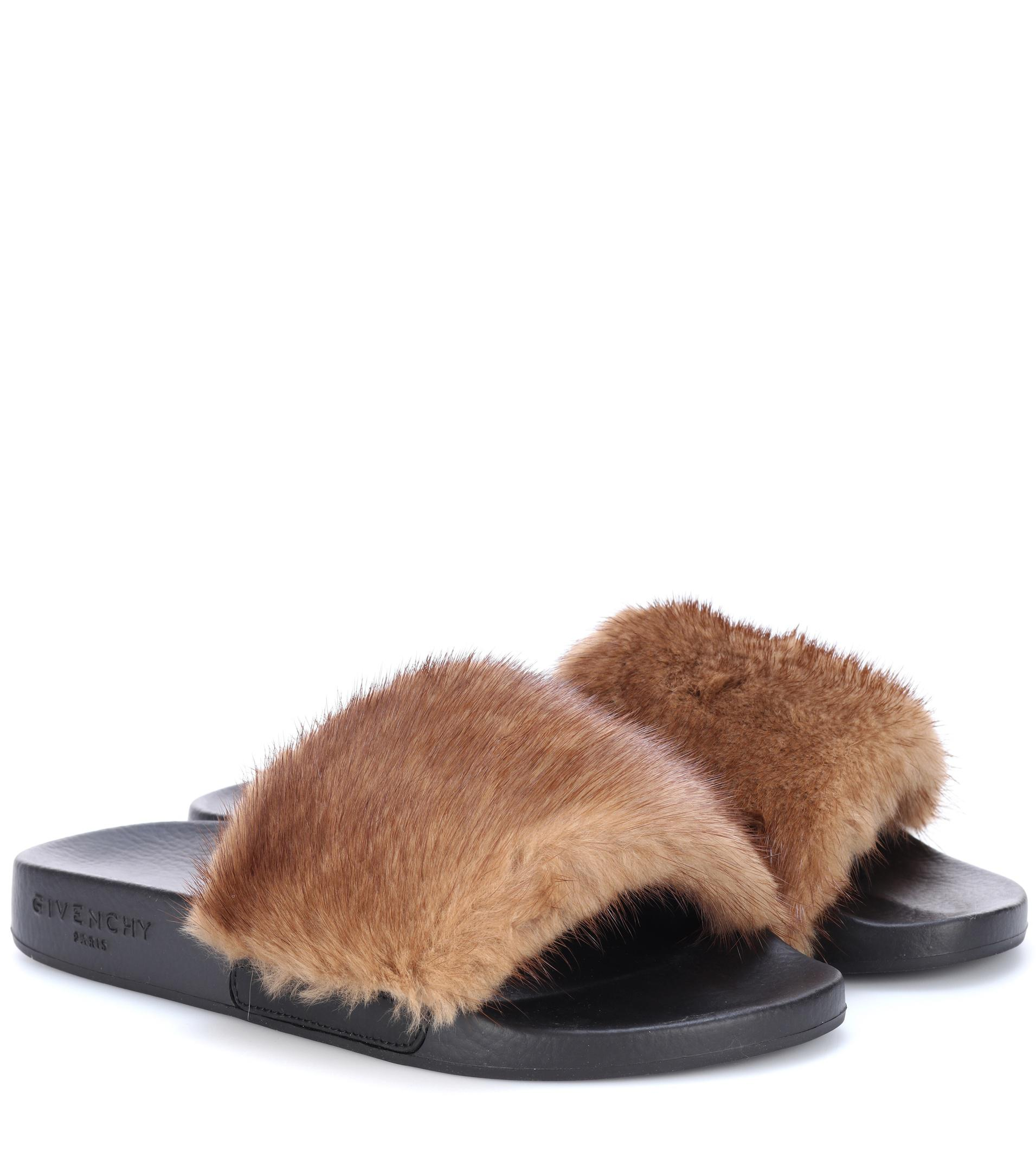 givenchy fur slides in brown lyst