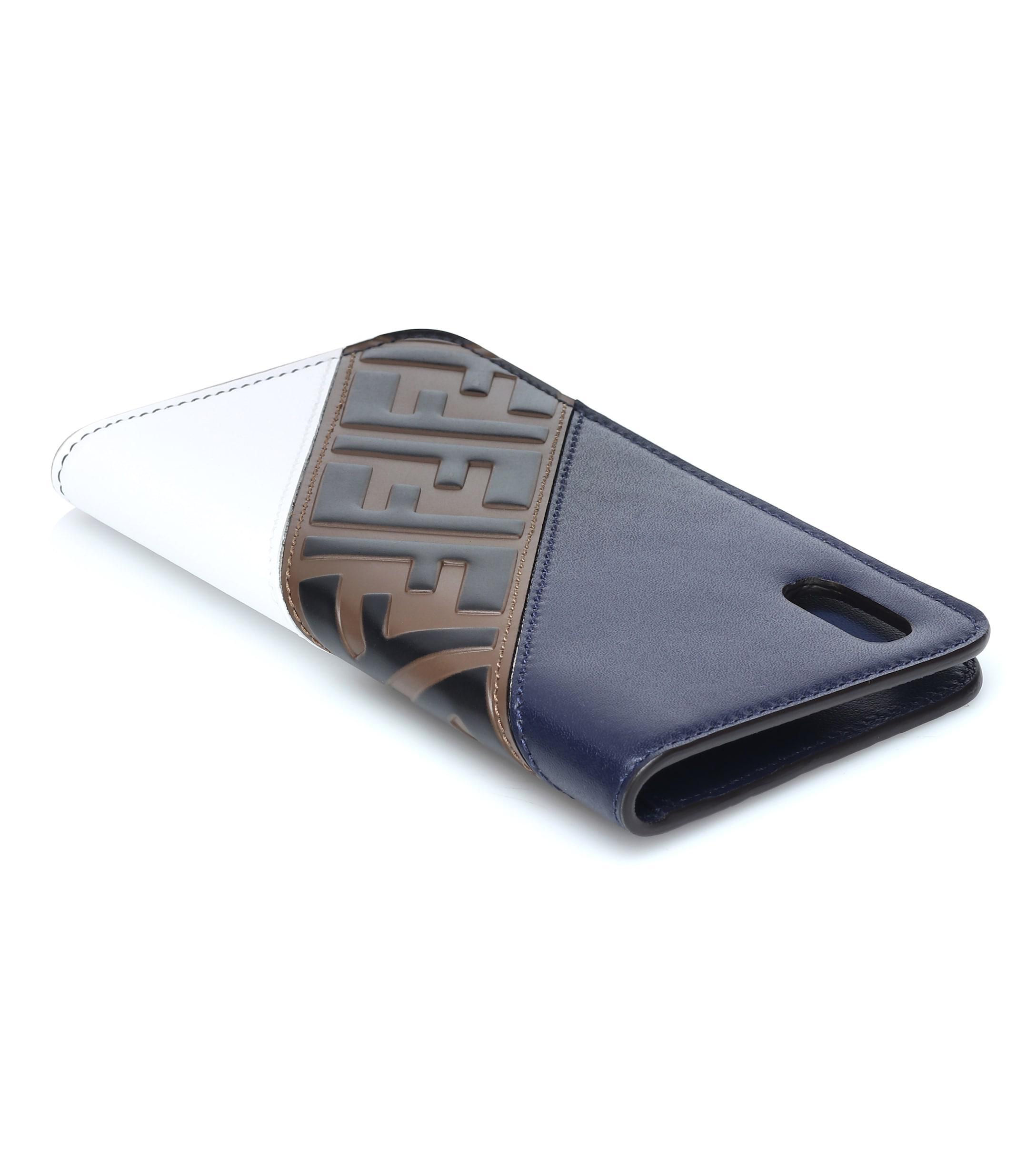 cb10811b Lyst - Fendi Mania Leather Iphone X Case