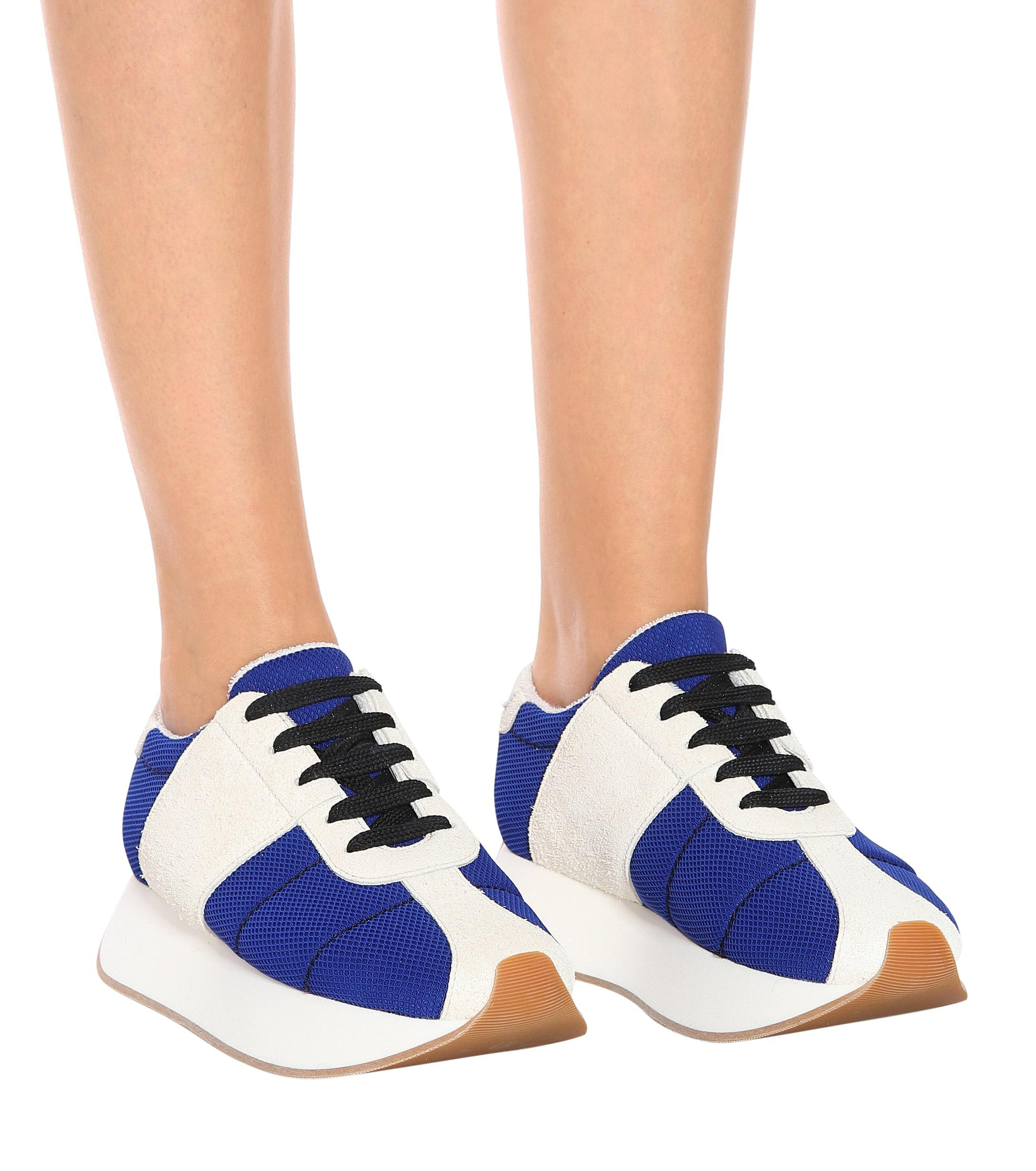 Marni Big Foot Suede And Mesh Sneakers in Blue