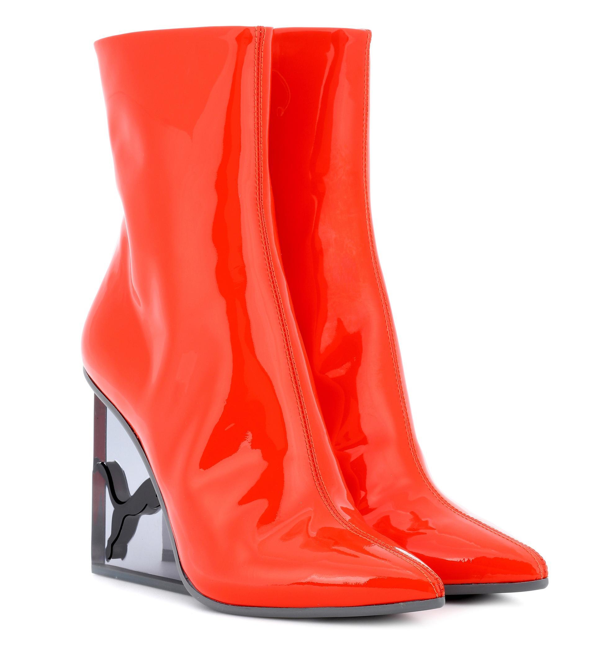 magasin en ligne 18f1b ff365 Bottines en cuir verni femme de coloris orange