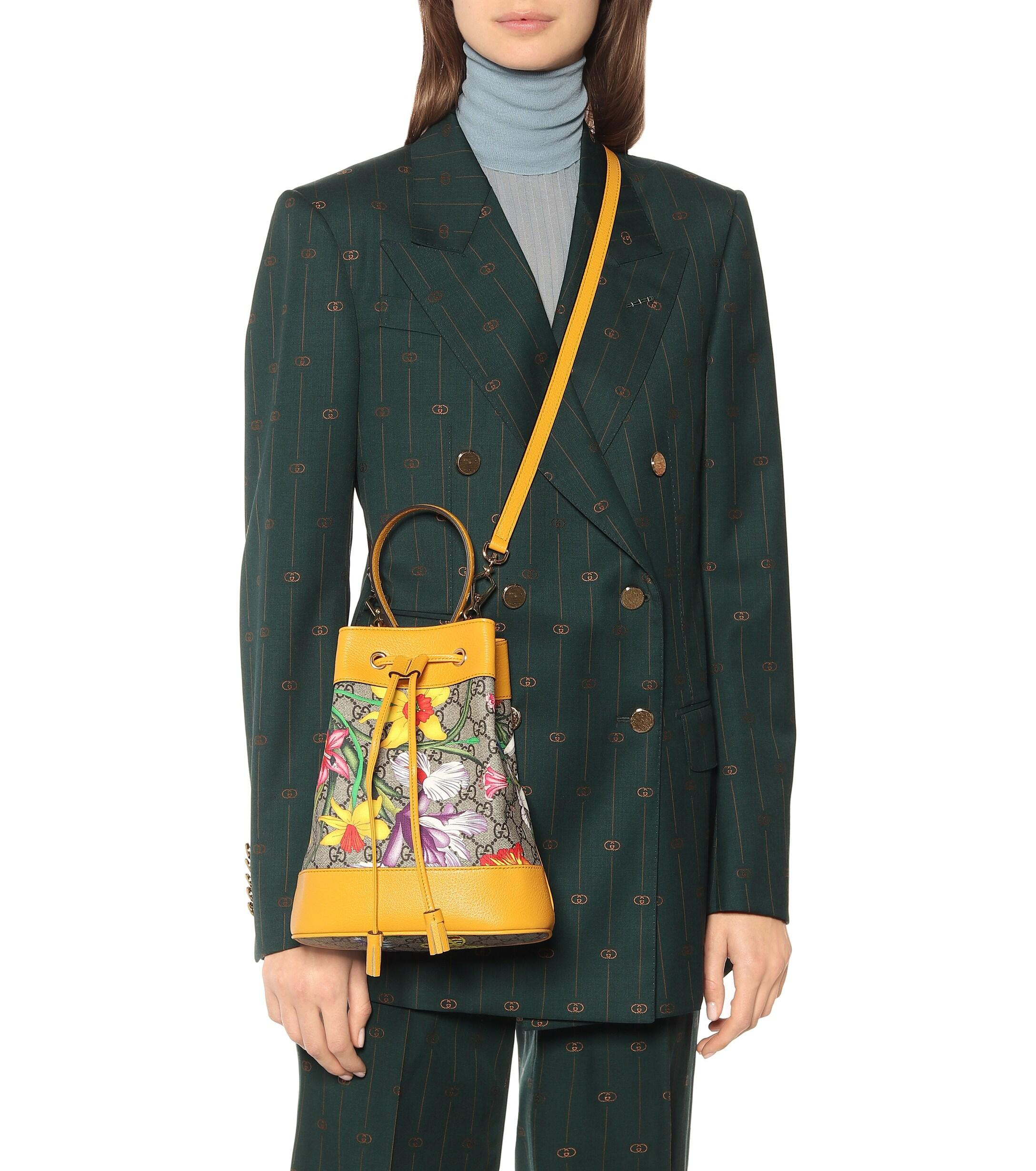 Gucci Leather Ophidia Gg Flora Small Bucket Bag In Yellow Save 6 Lyst