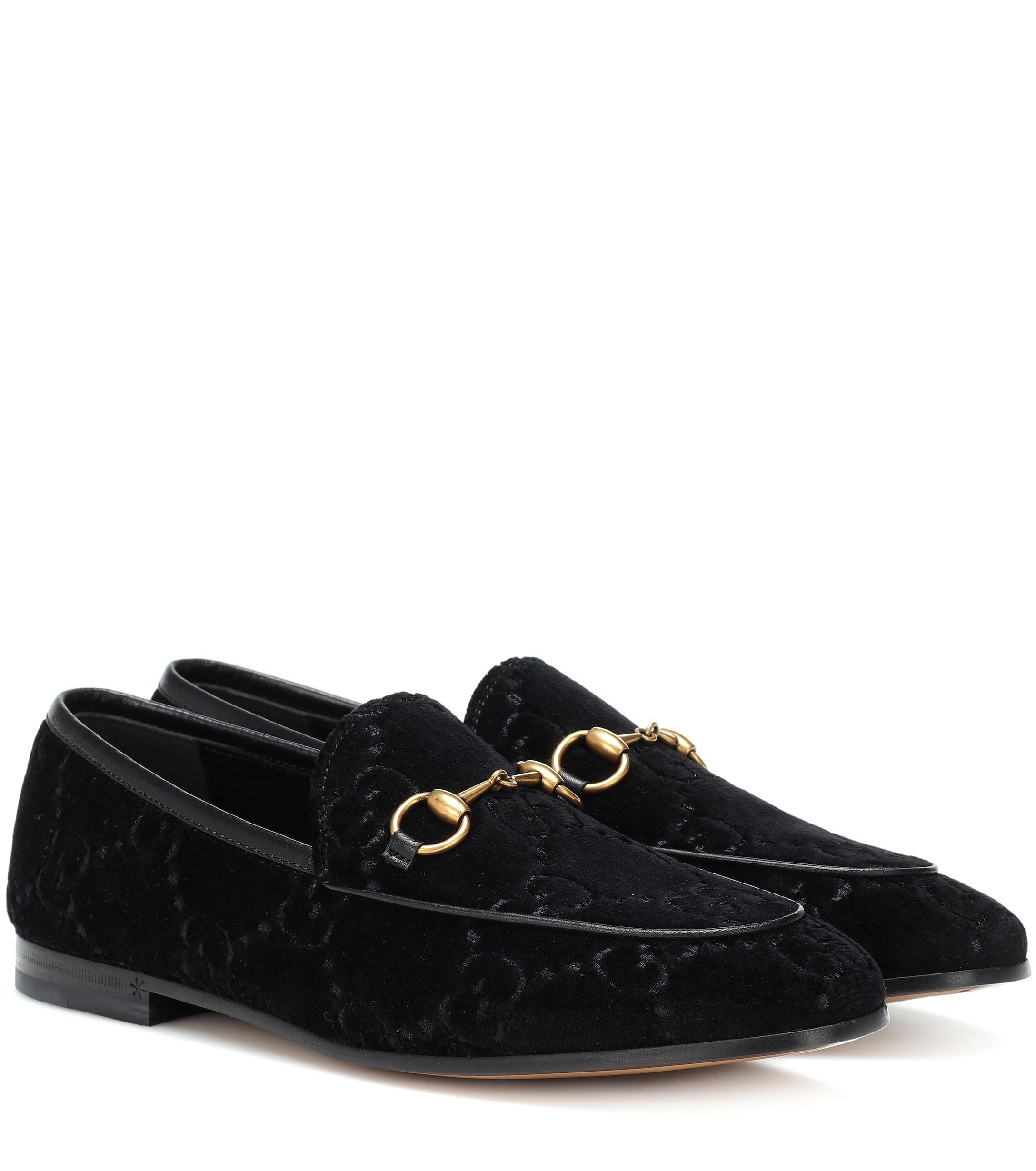 404c8b655d9 Gucci Jordaan GG Velvet Loafers in Black - Lyst