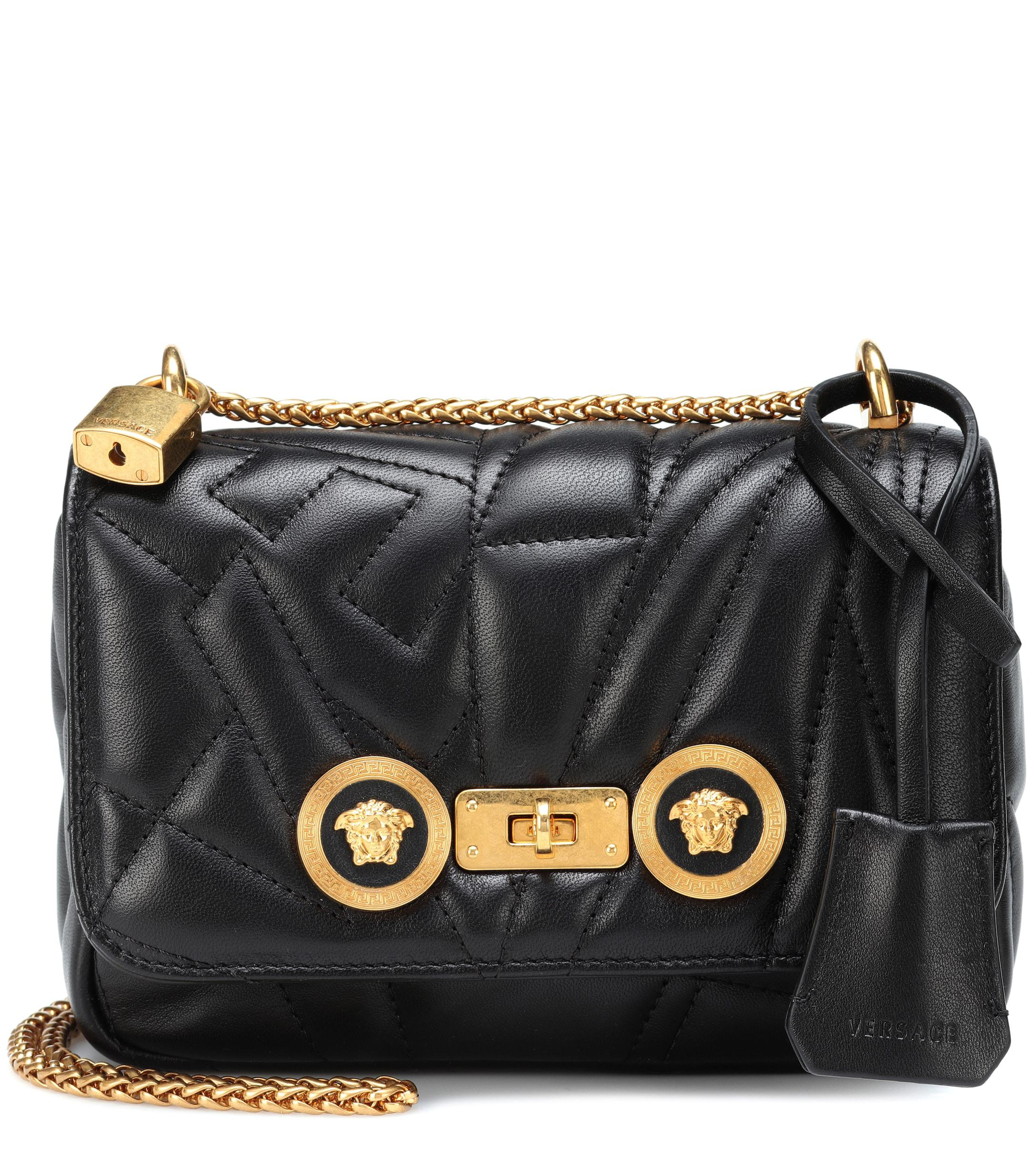 e875d3d558 Versace Icon Quilted Leather Shoulder Bag in Black - Lyst