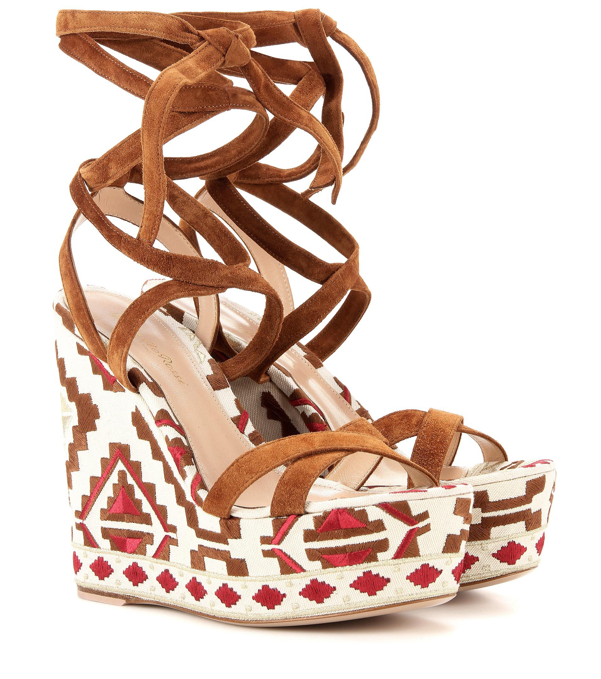 discount low cost Gianvito Rossi Cheyenne Embroidered Wedge Sandals 2014 new sale online discount Inexpensive free shipping professional 2Cjp2