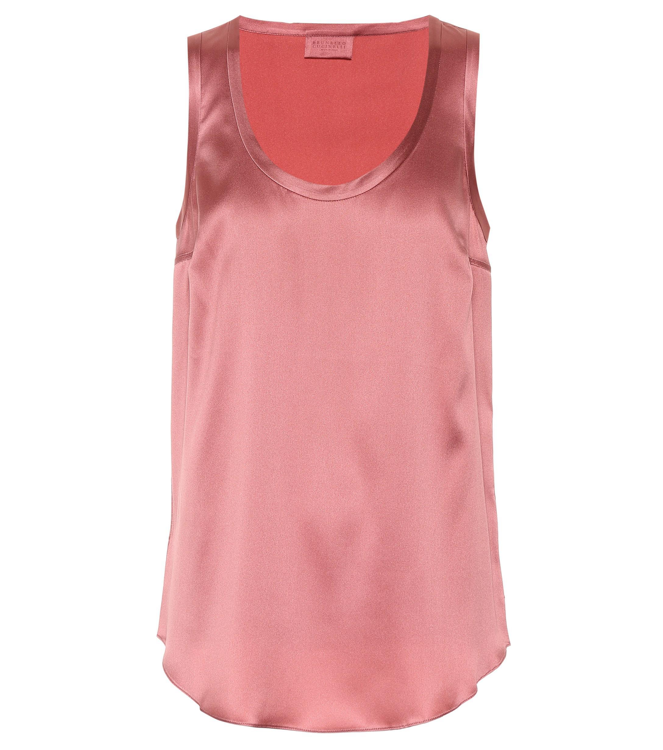 72594dc65285f Lyst - Brunello Cucinelli Stretch Silk Satin Top in Pink