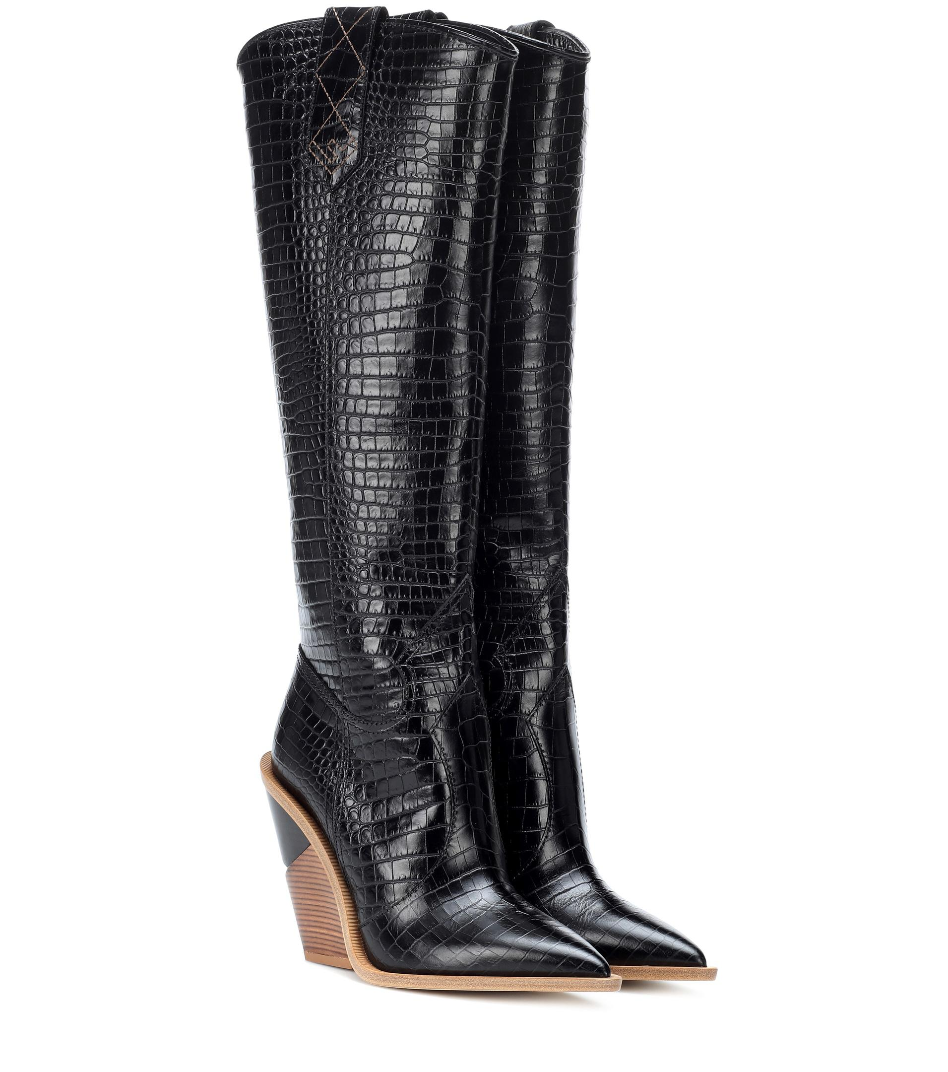 Fendi Embossed Leather Cowboy Boots in