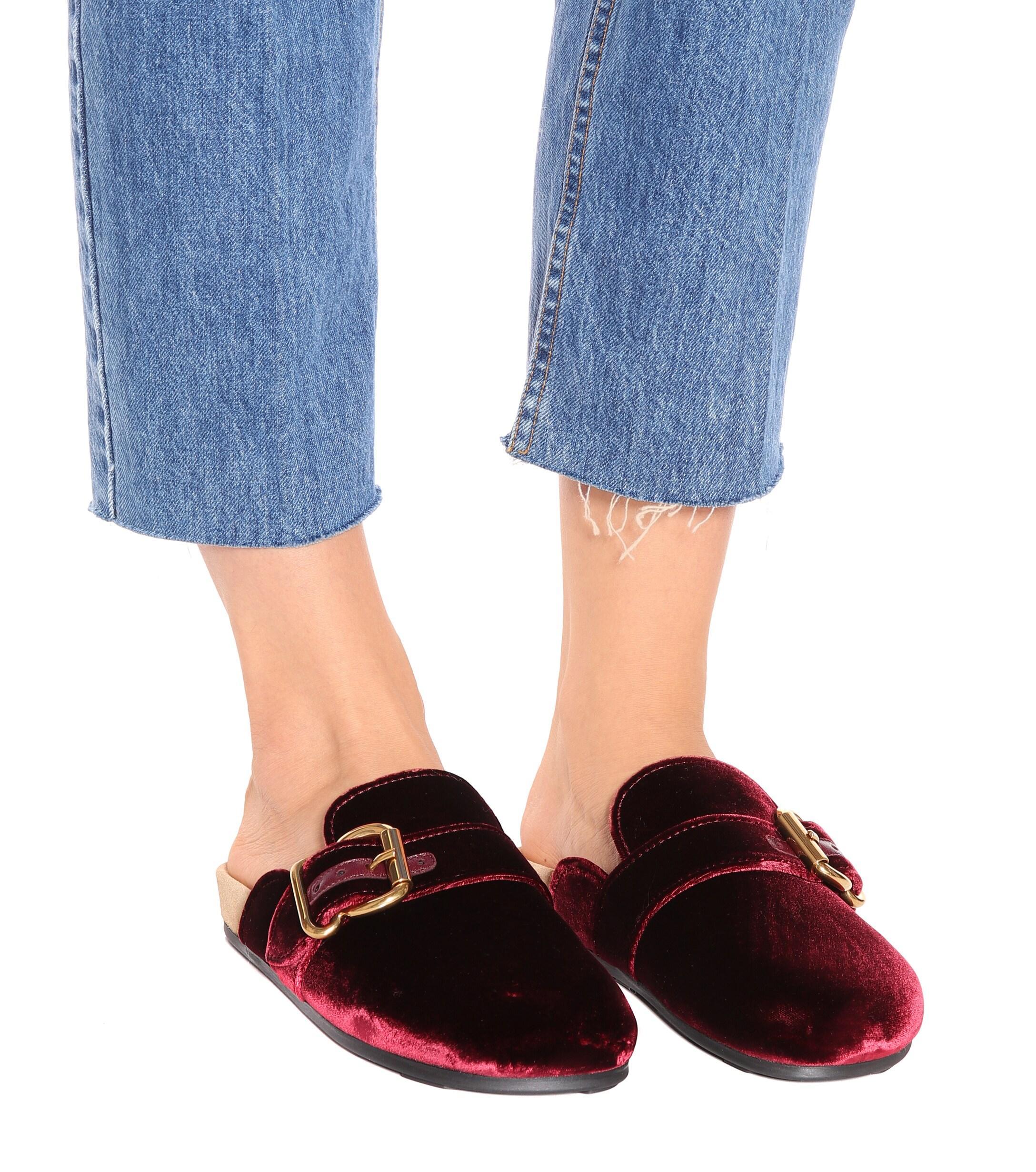 Slippers de terciopelo Prada de Terciopelo de color Rojo
