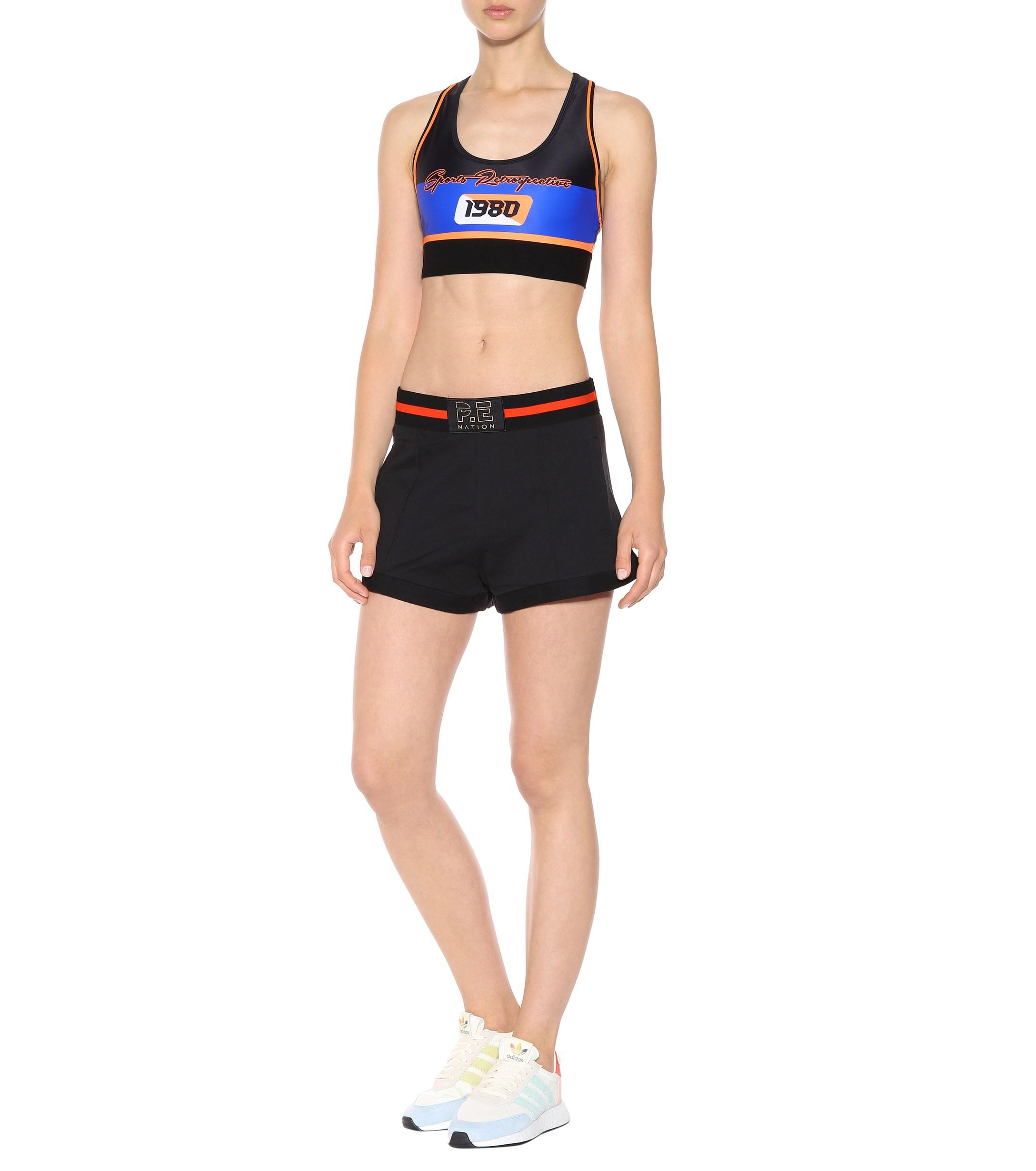 P.E Nation Synthetic The Dodgeball Crop Top in Blue