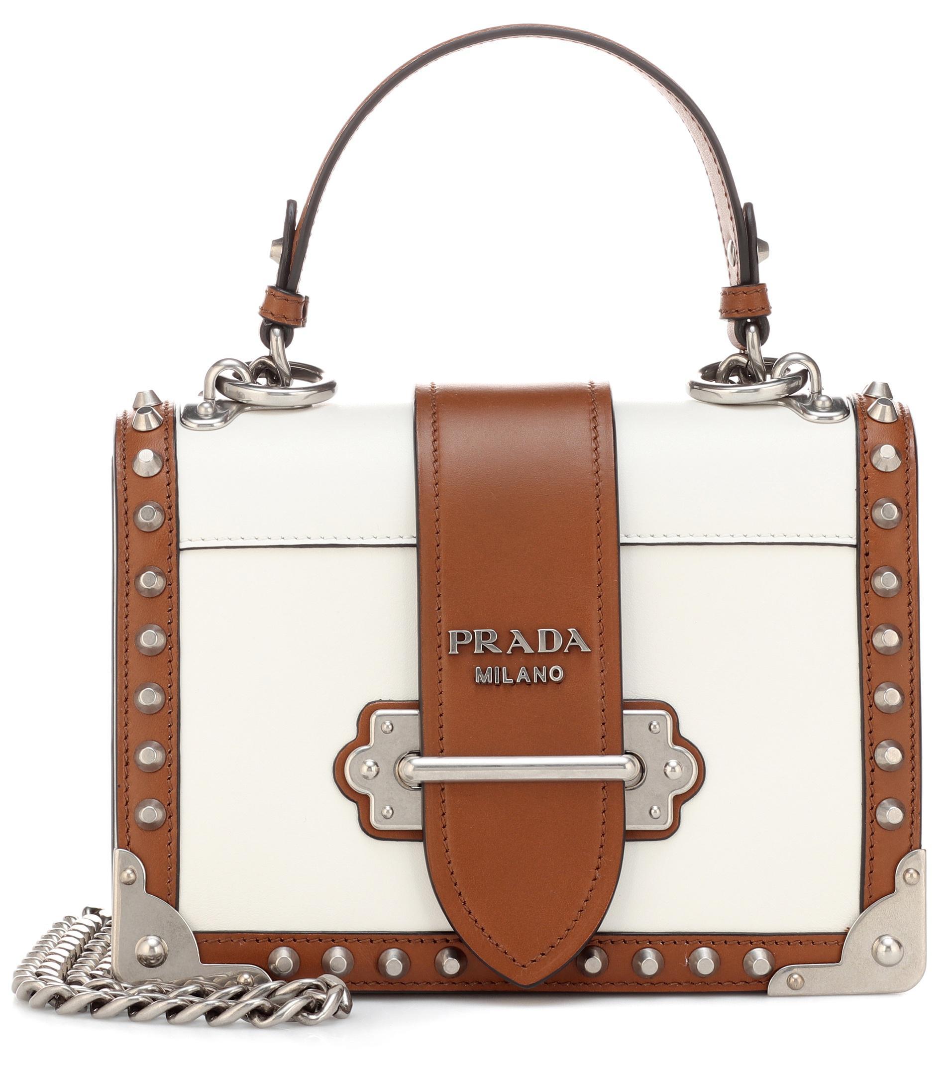 Prada Cahier Leather Shoulder Bag in White - Lyst 46b1e12f0a2b5