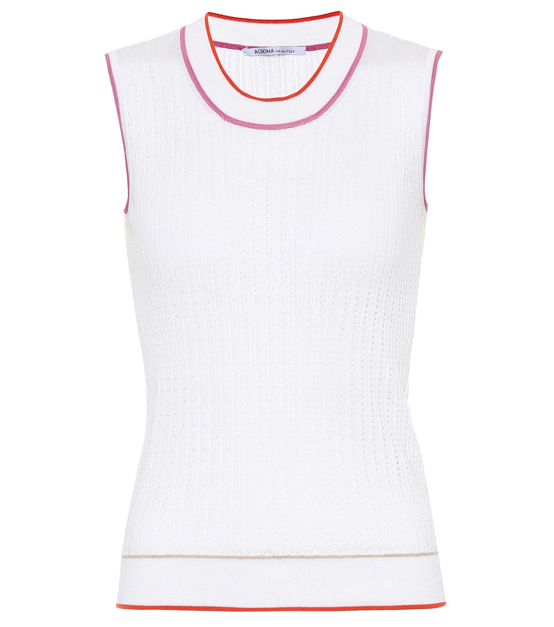 Sleeveless silk and cotton top Agnona Outlet Official Site 100% Authentic Discount YsMyIQ