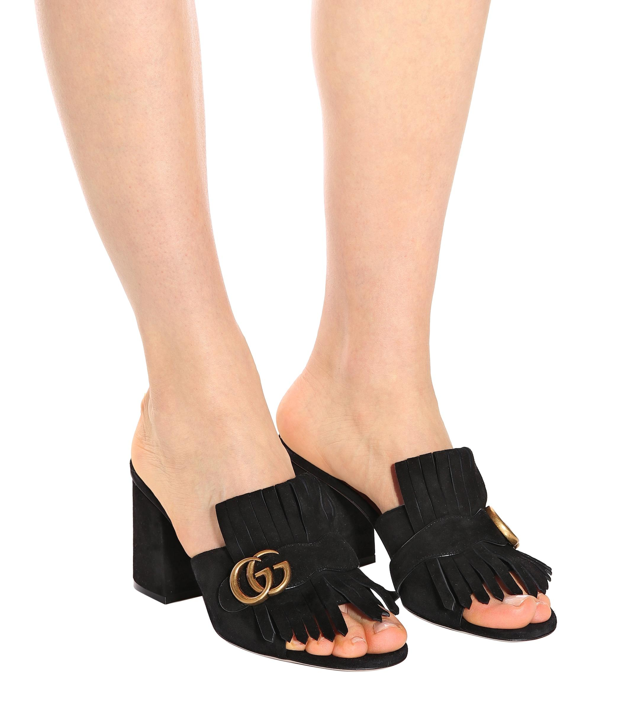 Gucci Leather GG Marmont Slide Heeled