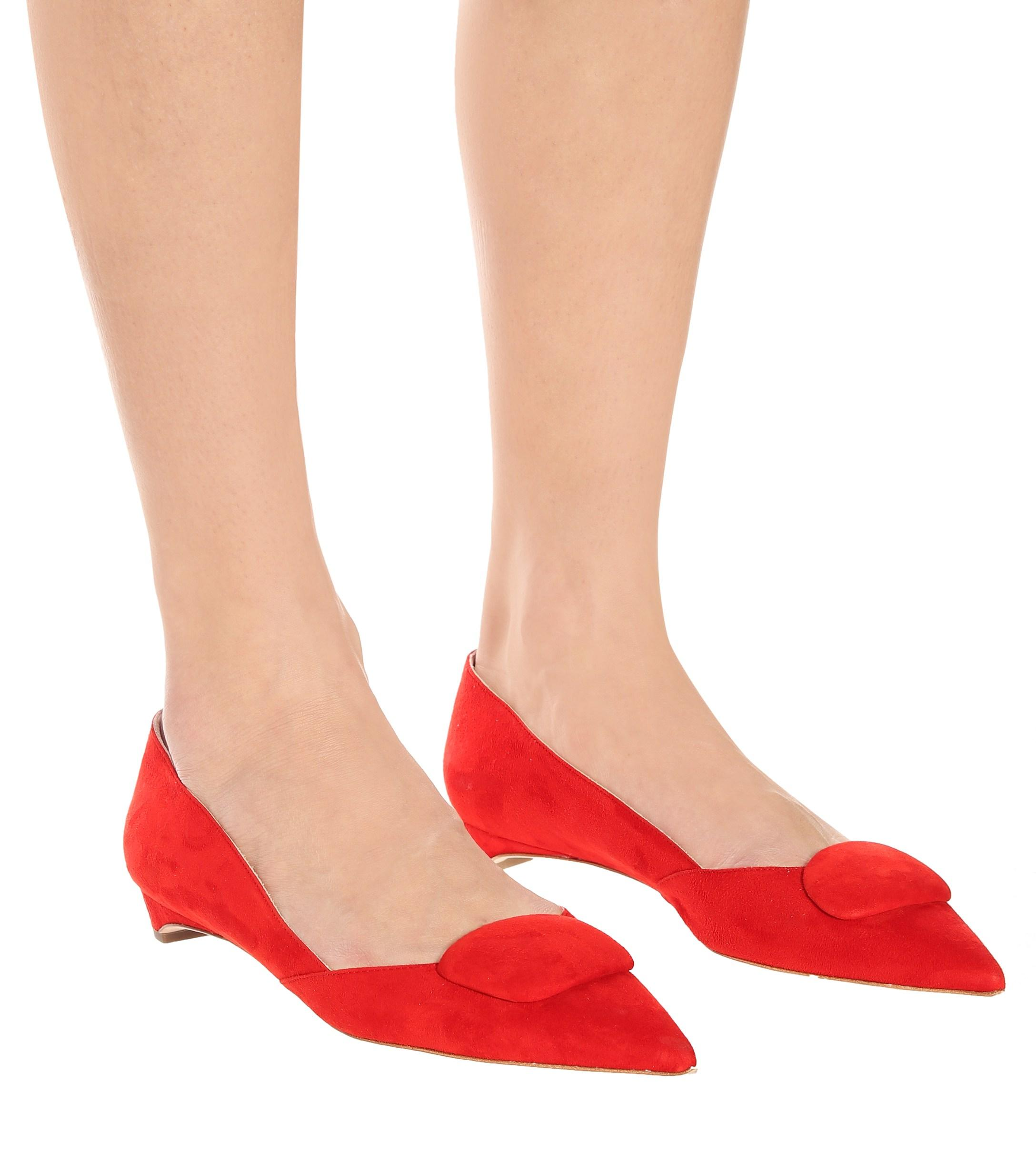 Bailarinas New Aga de gamuza Rupert Sanderson de Ante de color Rojo