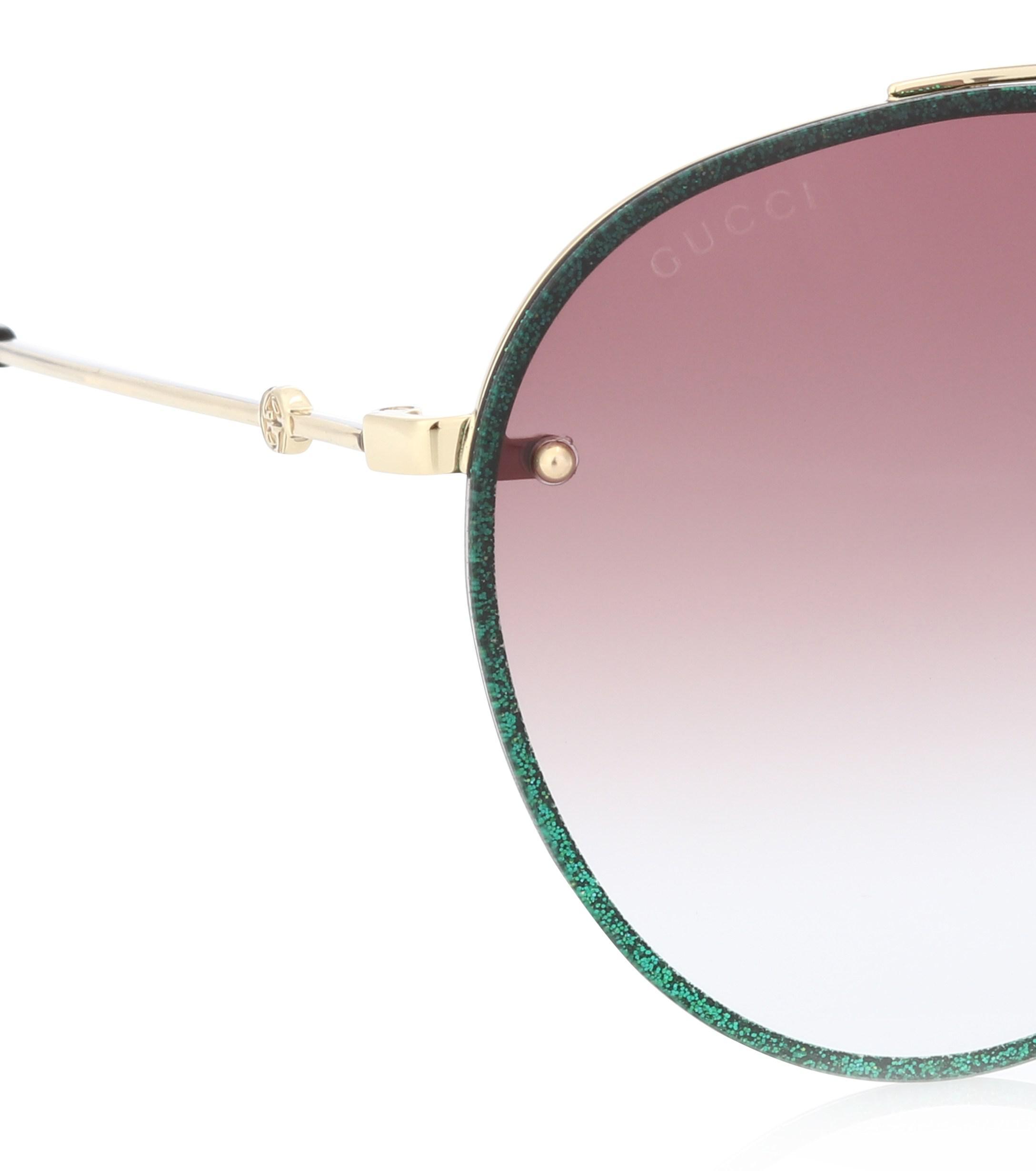 0d5a3d759b Gucci Glitter Aviator Sunglasses in Green - Lyst