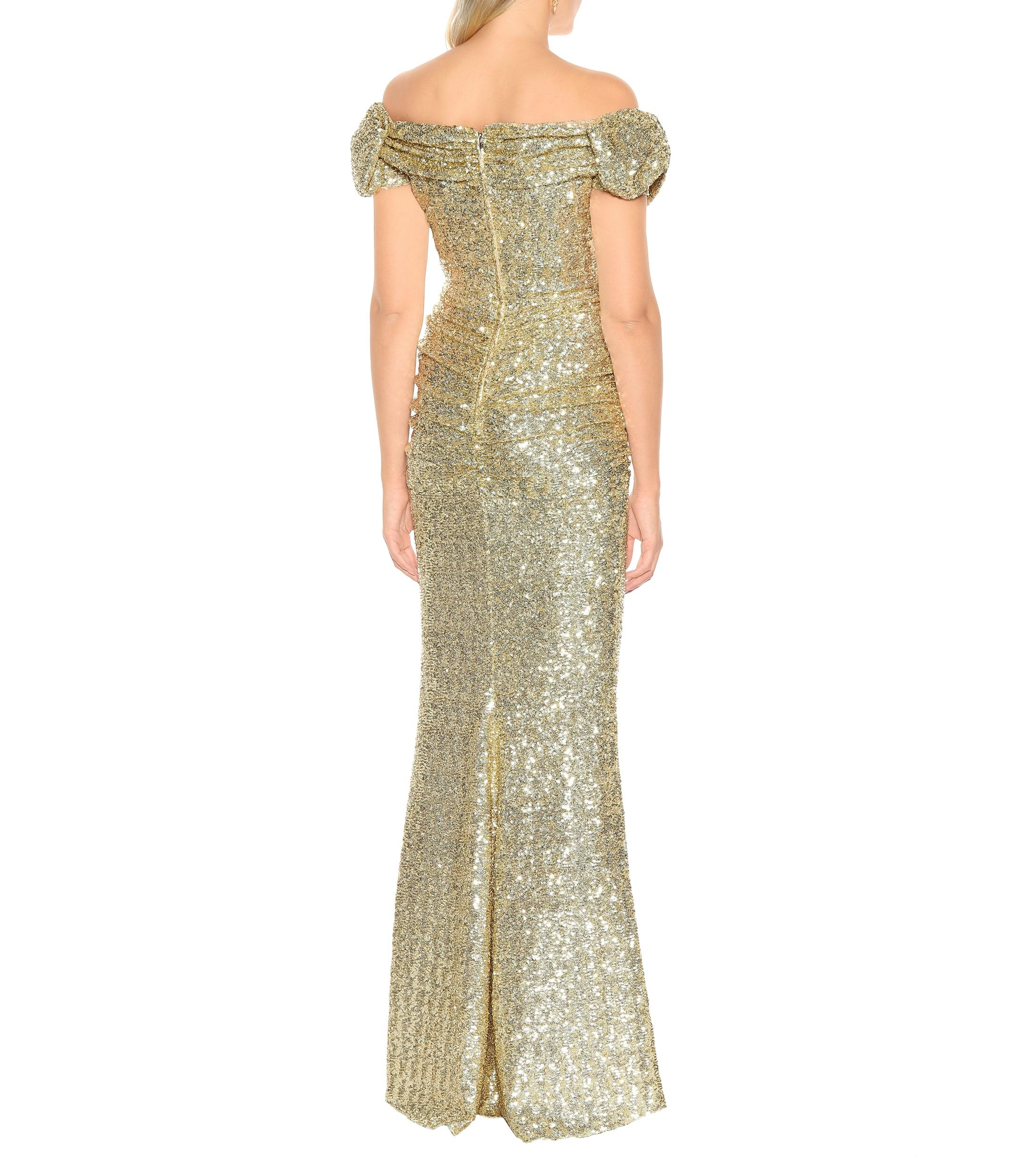 6700e87983 Dolce & Gabbana - Metallic Vestido de fiesta con mangas farol - Lyst. Ver  en pantalla completa