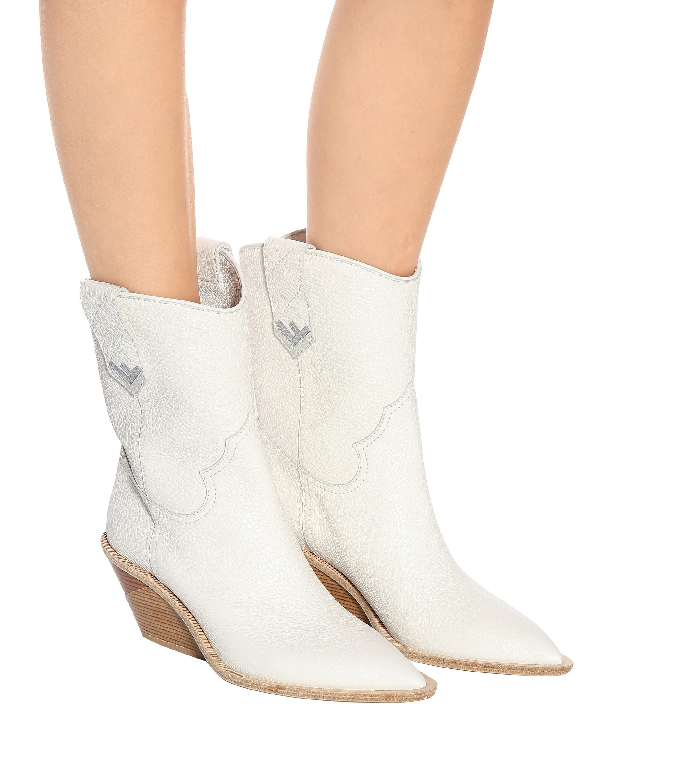 Fendi Leather Cowboy Boots in White - Lyst