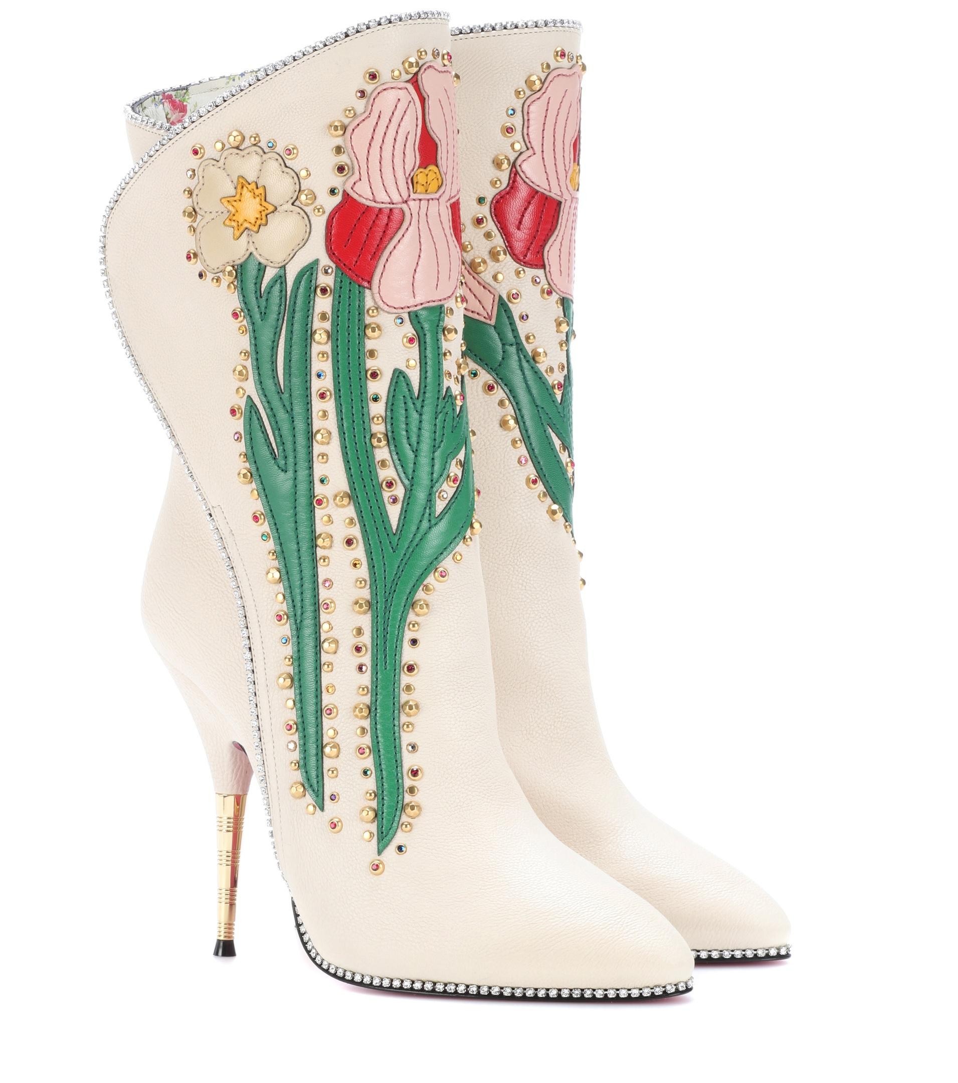 1b44bbe37e0 Lyst - Gucci Fosca Appliquéd Embellished Textured-leather Ankle ...